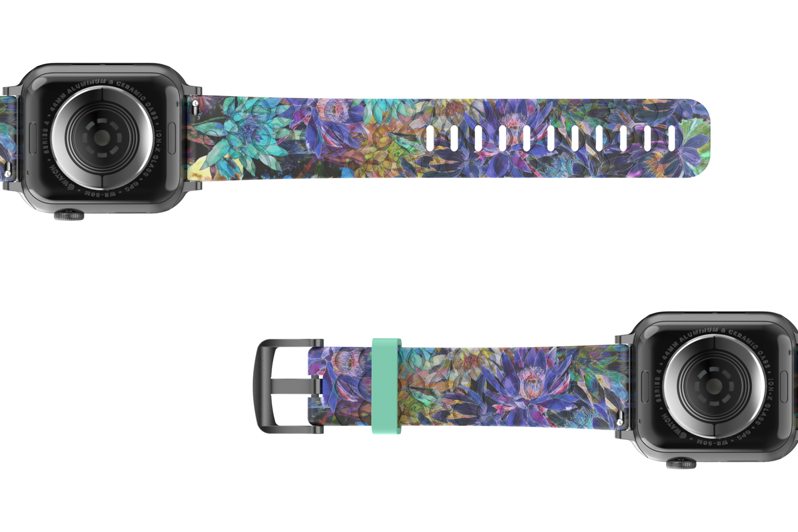 Twilight Blossom Apple Watch Band with gray hardware viewed bottom up