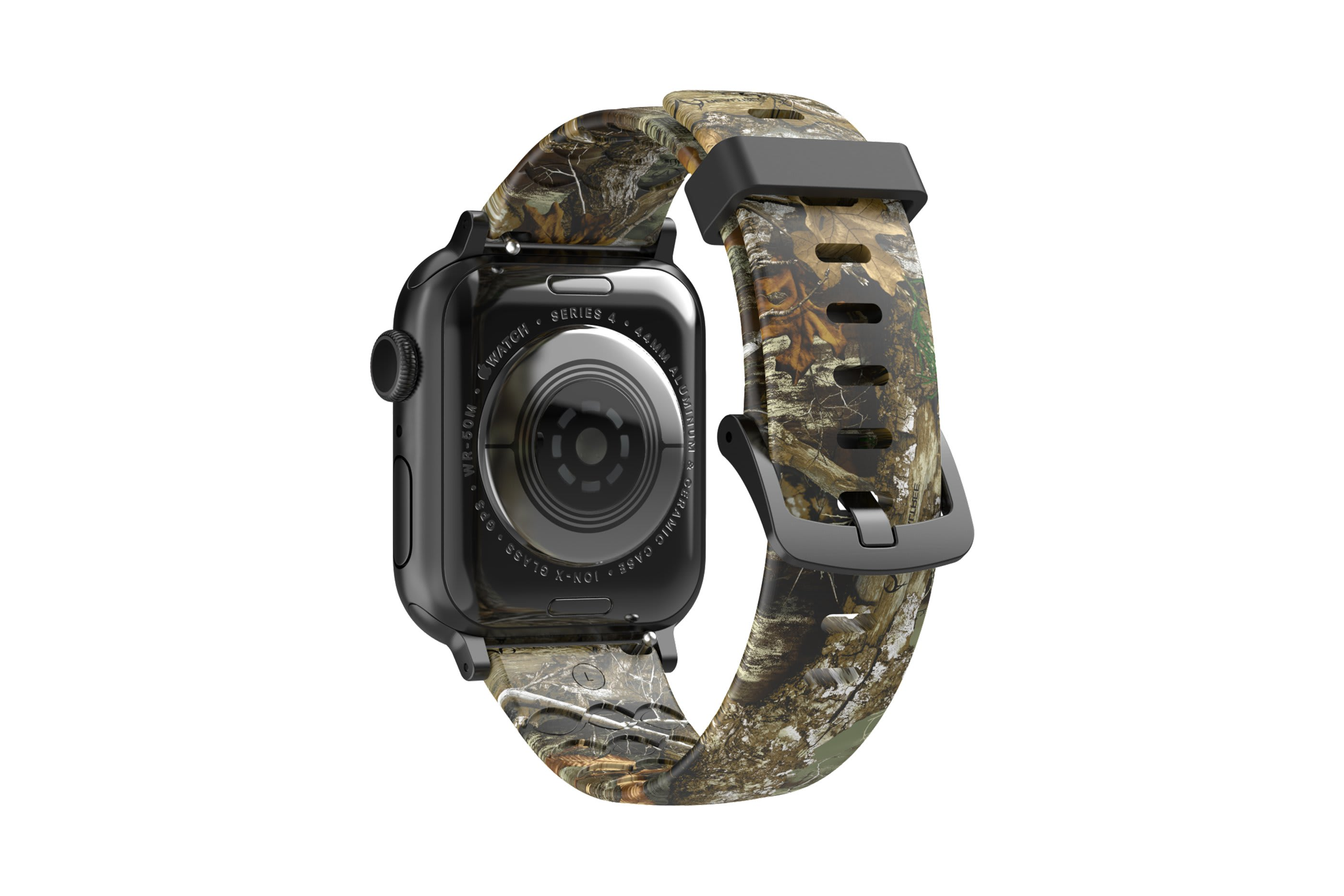 Realtree Edge Apple Watch band with silver hardware viewed top down