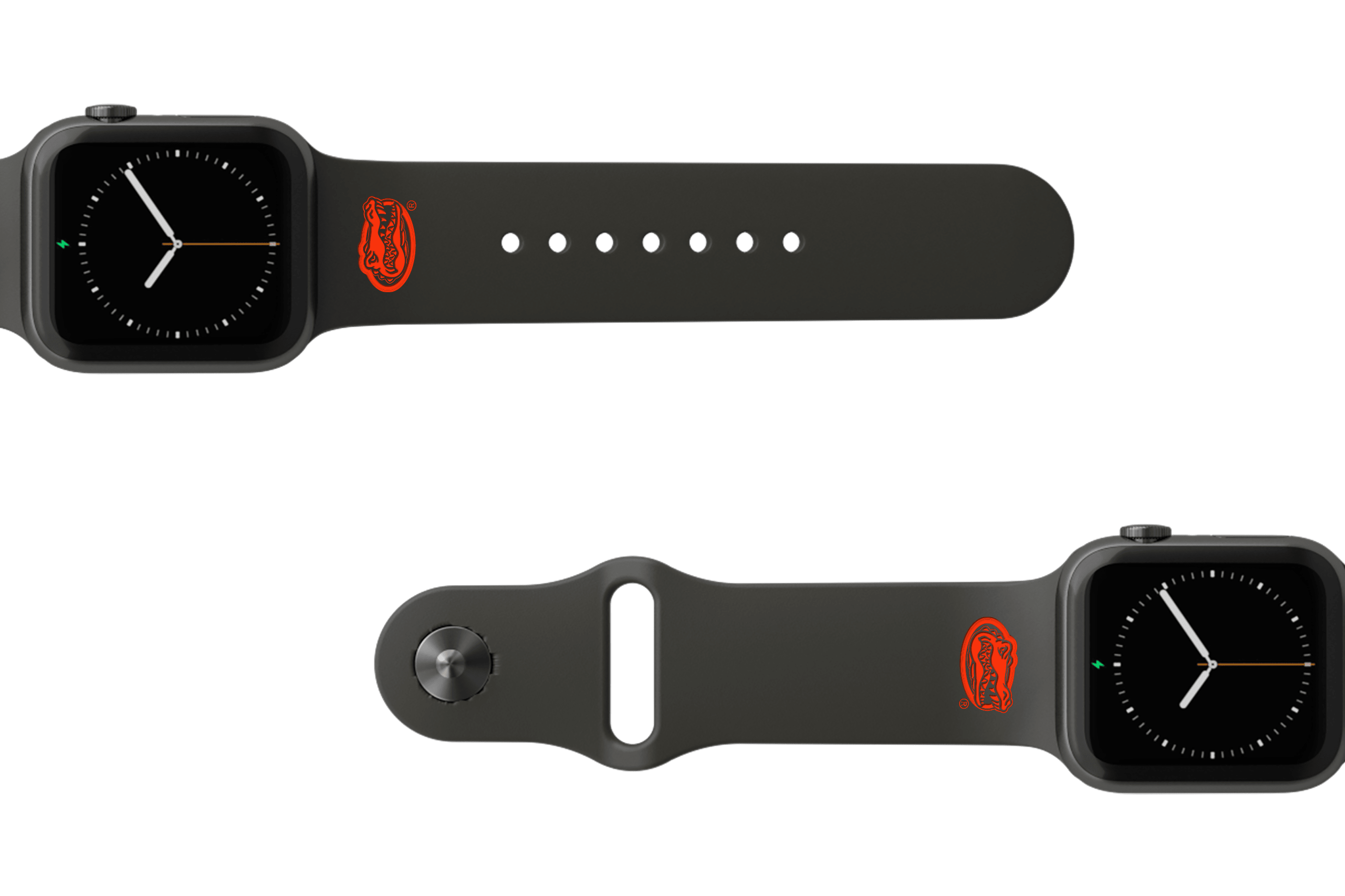 College Florida Black apple watch band with gray hardware viewed from rear