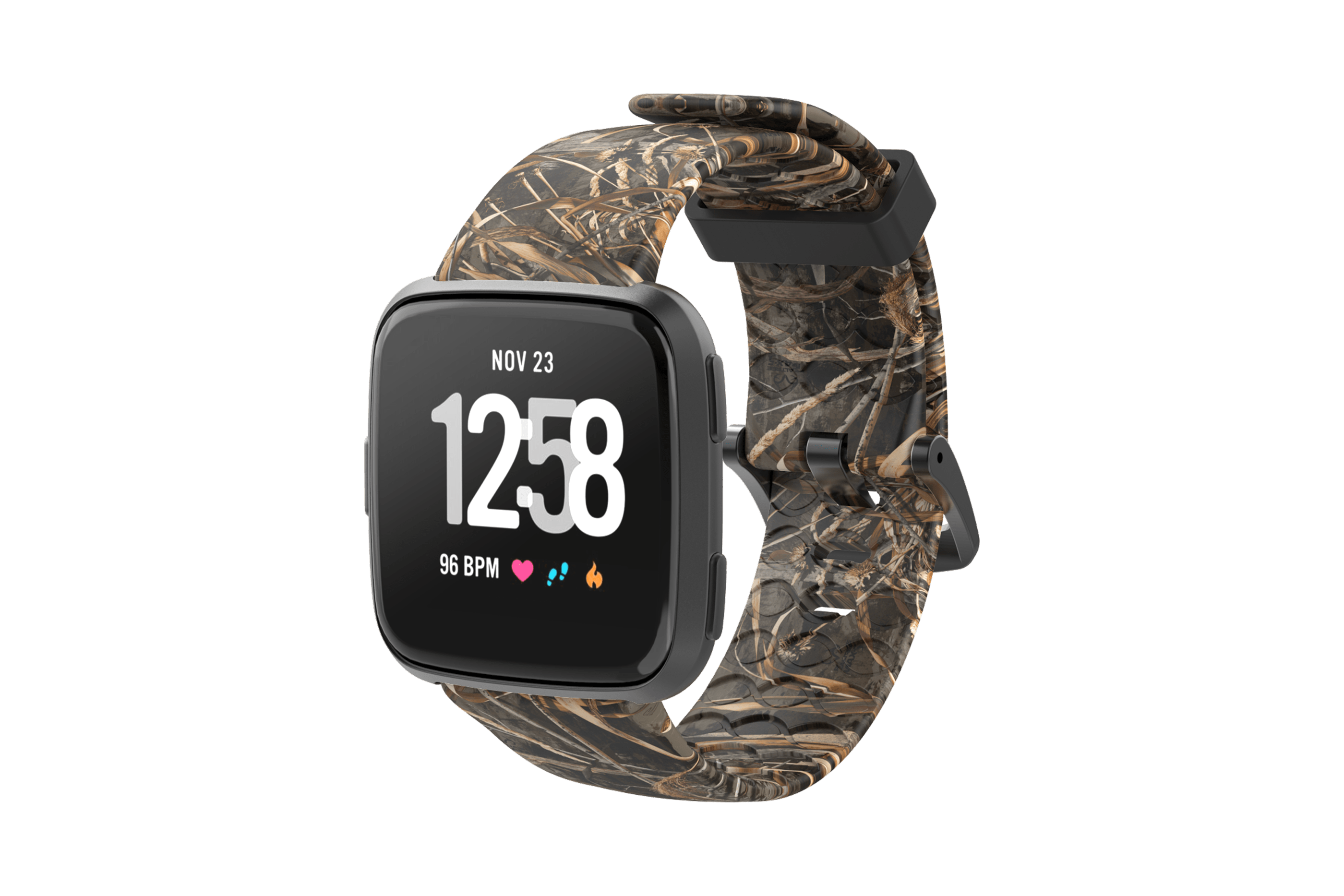 Realtree Max 5 Fitbit Versa Watch Band with gray hardware viewed front on