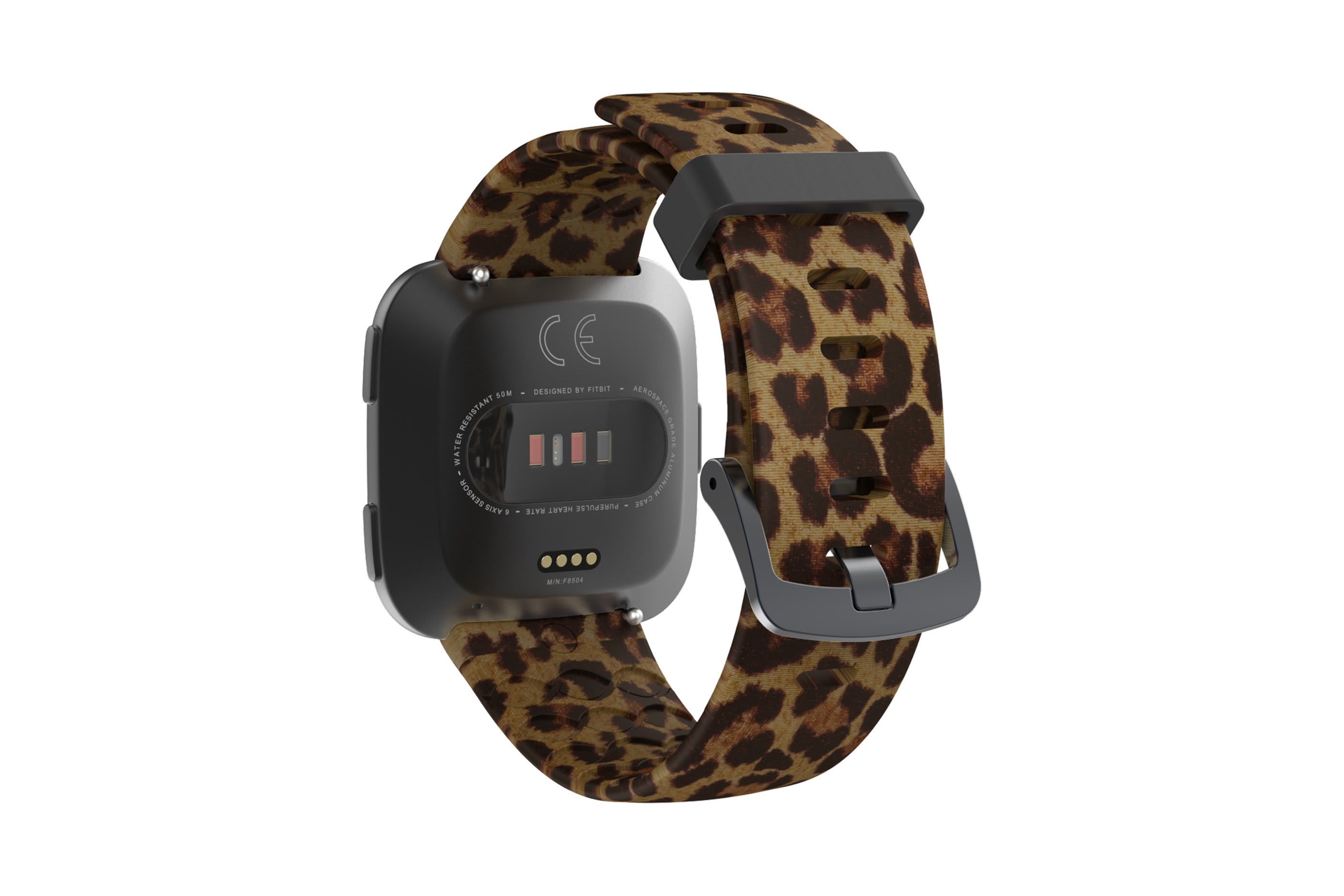 Leopard fitbit versa watch band with gray hardware viewed from top down