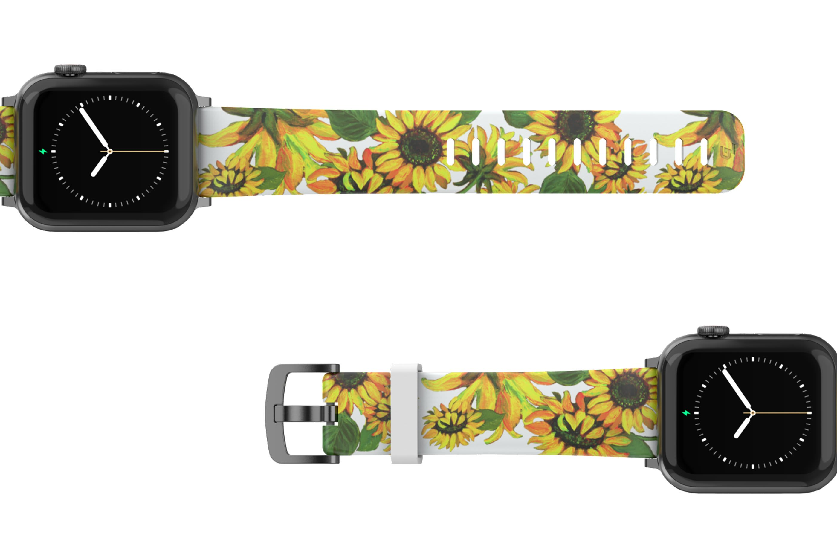 Sunflower Apple Watch Band with gray hardware viewed top down