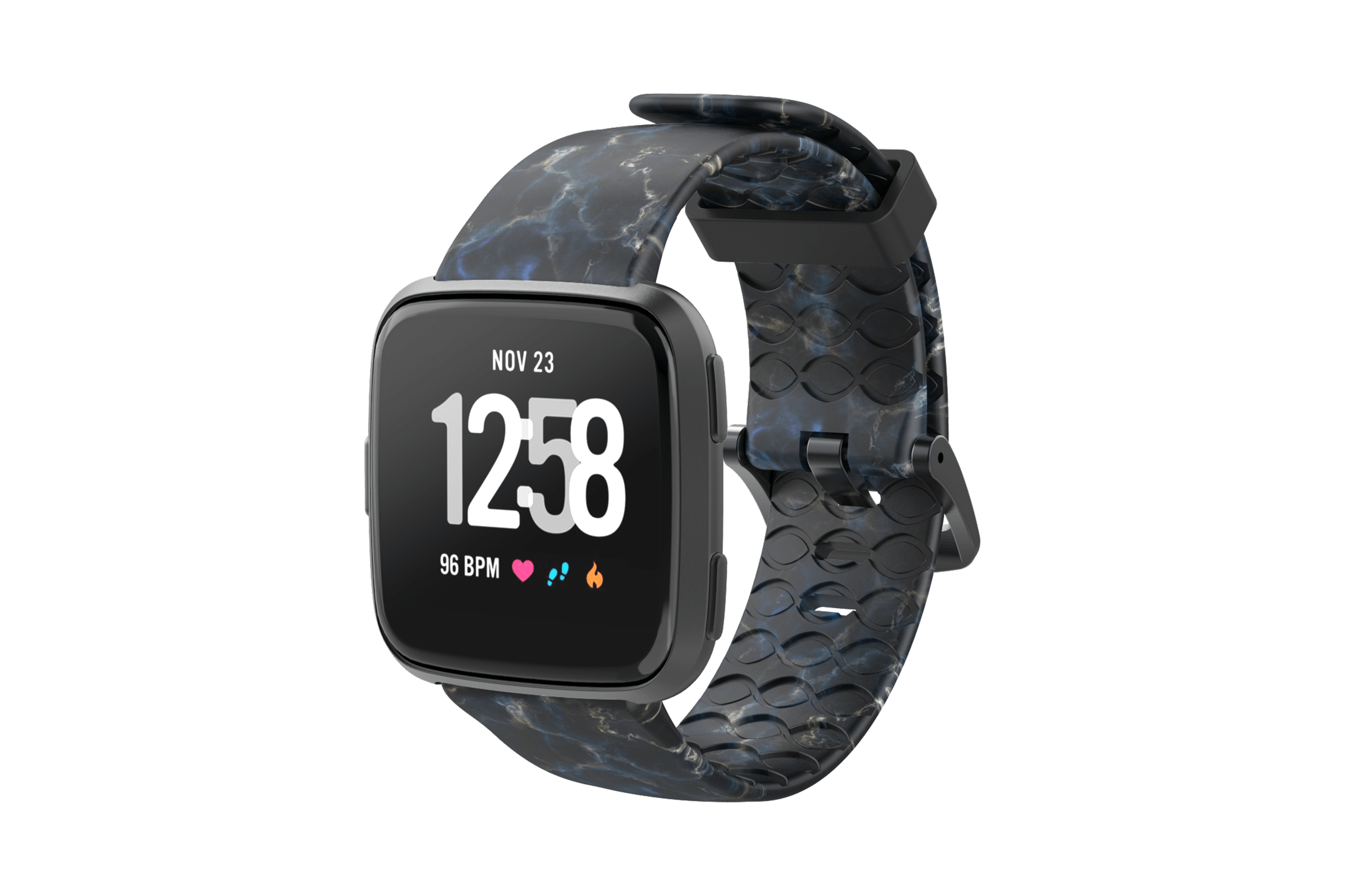 Nomad Rapids Fitbit Versa Watch Band with gray hardware viewed front on