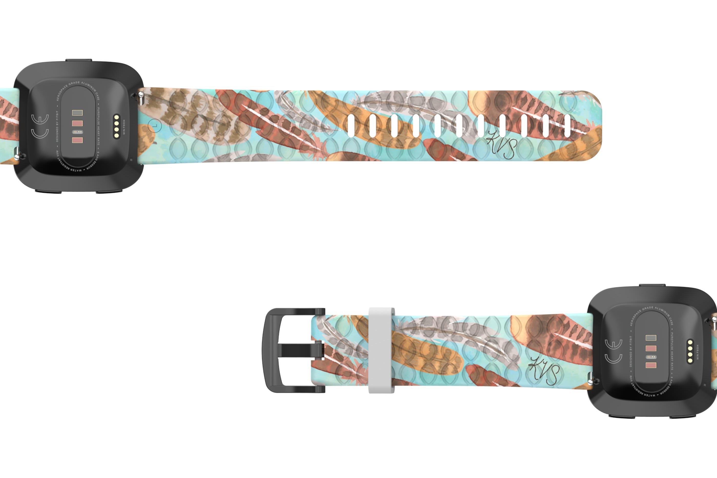 Brave - Katie Van Slyke Fitbit Versa   watch band with gray hardware viewed bottom up