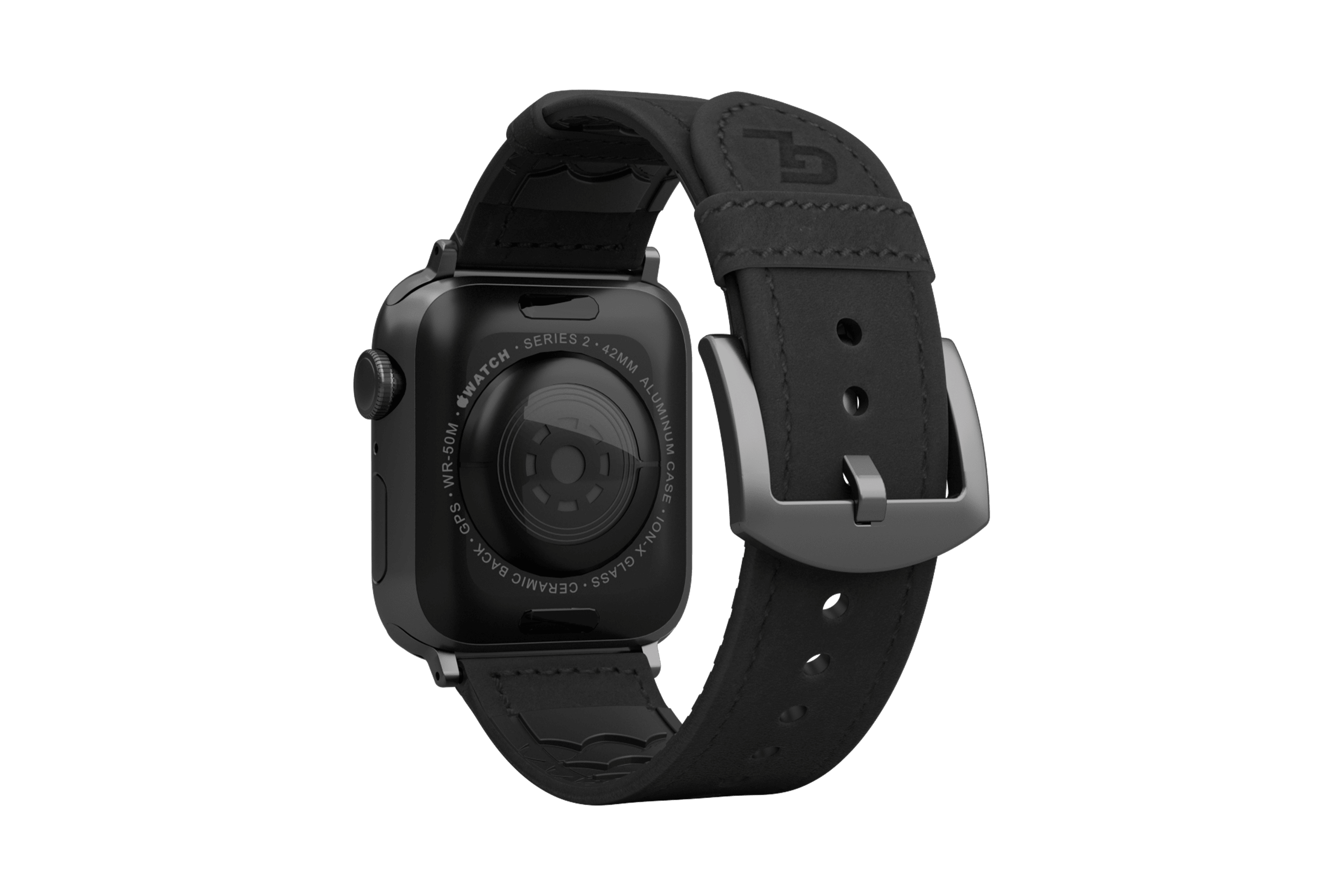 Vulcan Obsidian Black Leather apple watch band with gray hardware viewed from top down