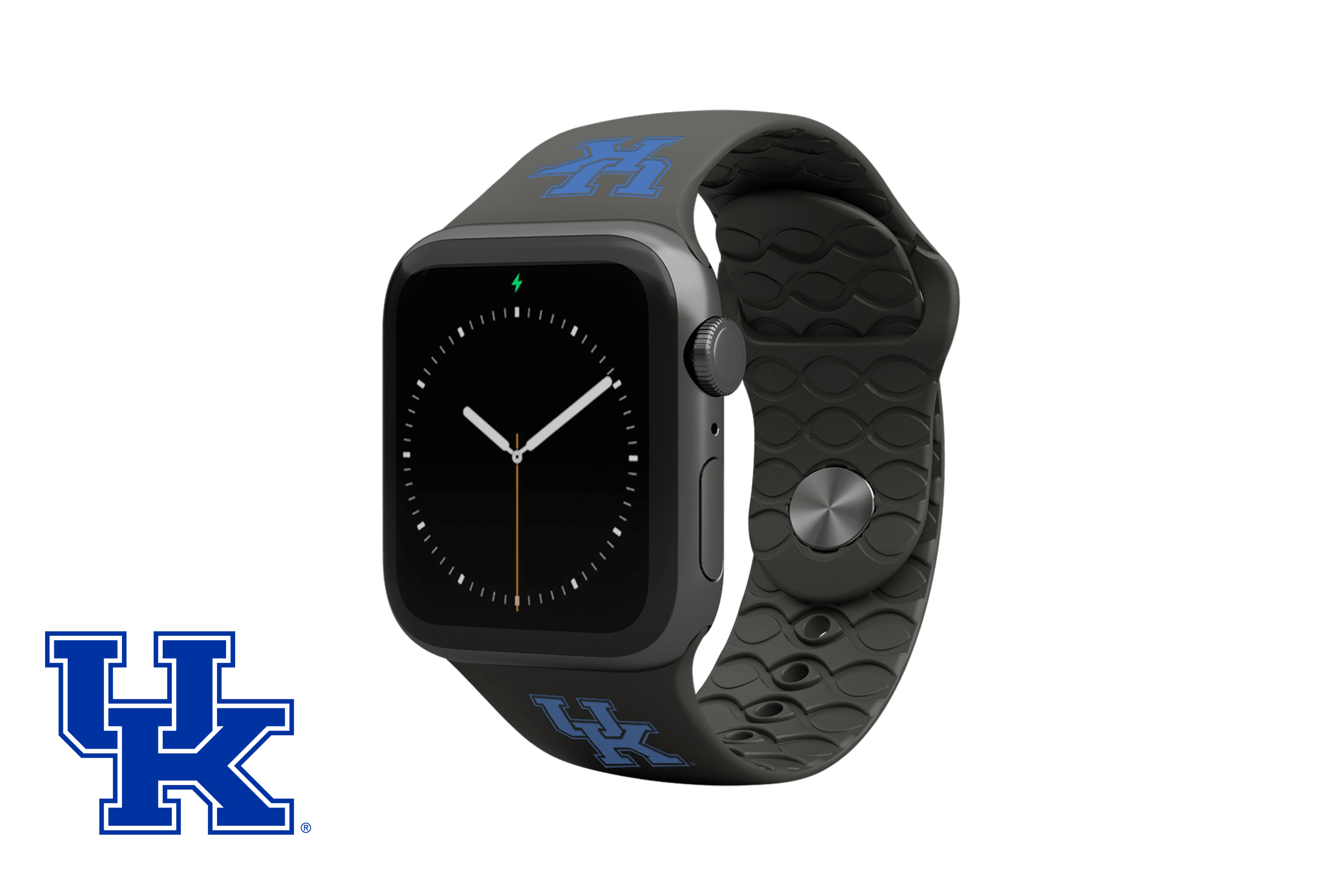 Apple Watch Band College Kentucky Black with gray hardware viewed front on