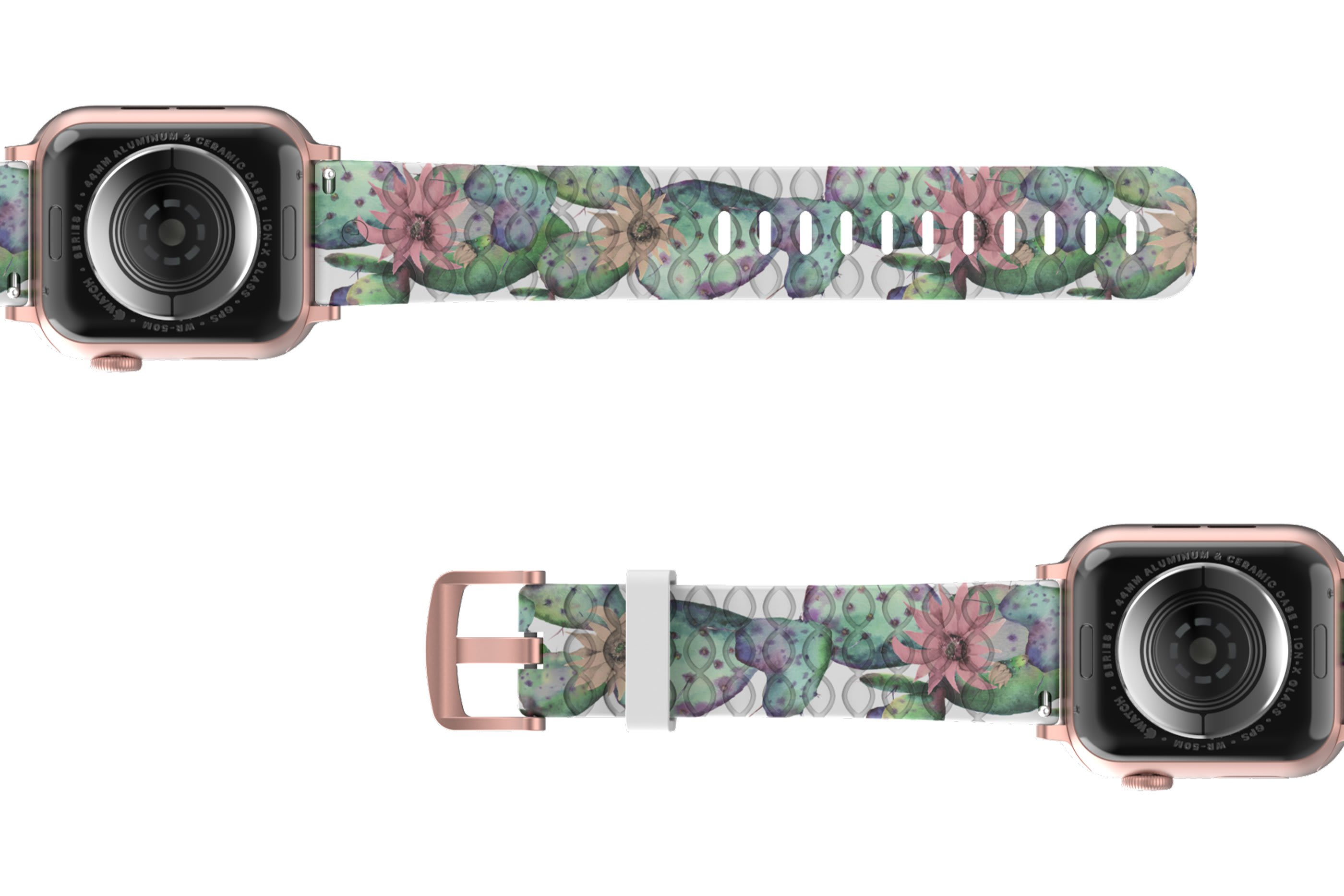 Cactus Bloom Apple Watch Band with rose gold hardware viewed bottom up