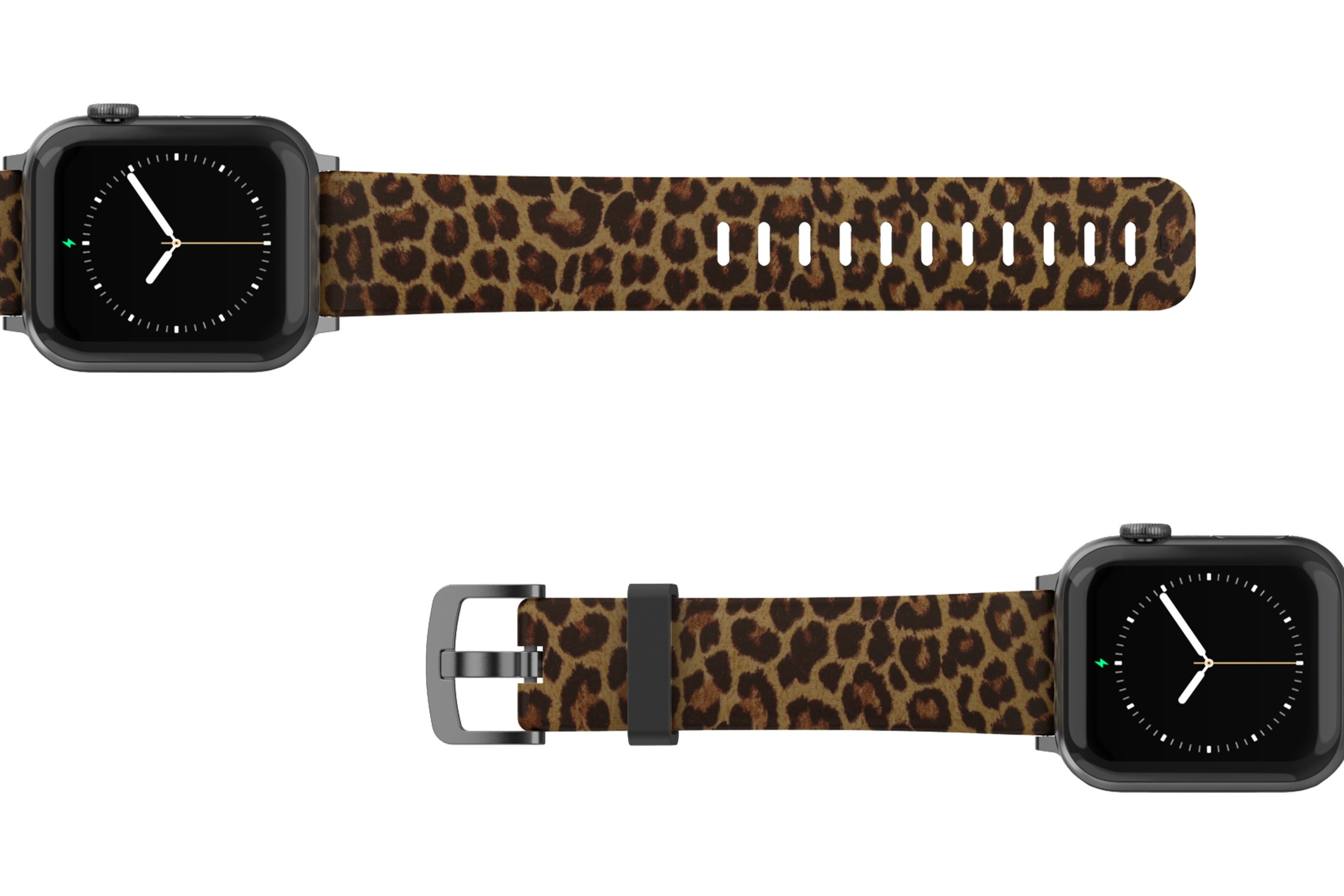 Leopard Apple Watch Band with gray hardware viewed top down