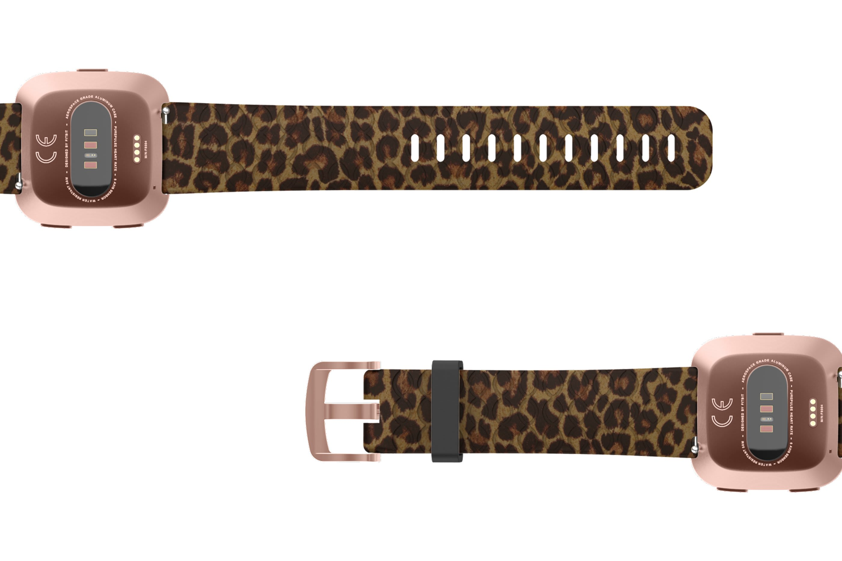 Leopard Fitbit Versa   watch band with rose gold hardware viewed bottom up