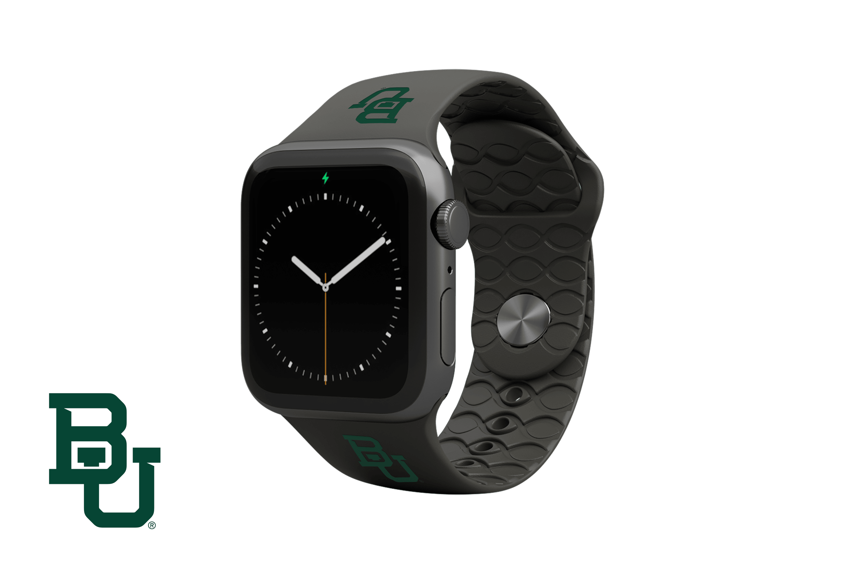 Apple Watch Band College Baylor Black with gray hardware viewed front on