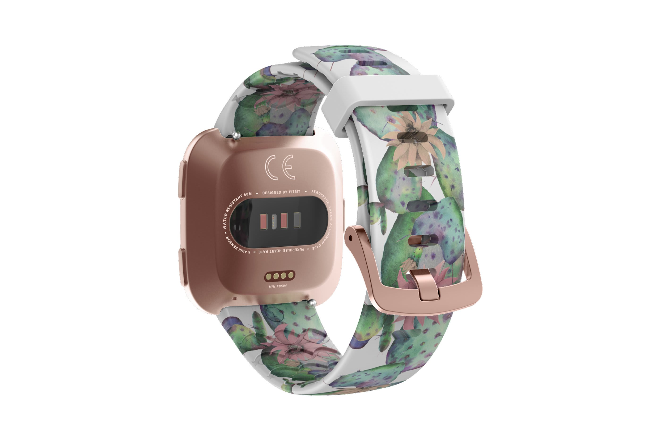 Cactus Bloom fitbit versa watch band with rose gold hardware viewed from top down