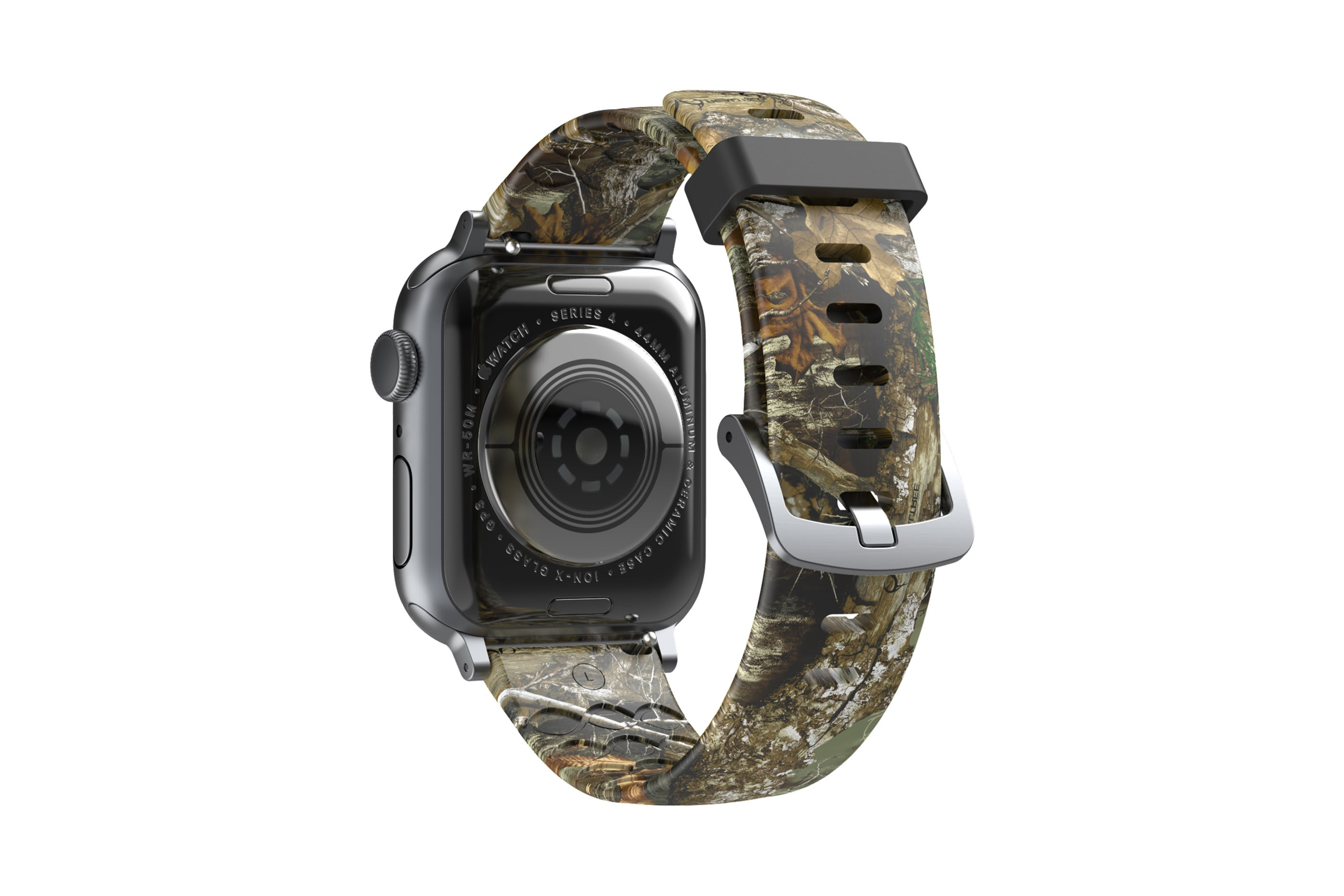 Realtree Edge Apple Watch Band with gray hardware viewed from top down