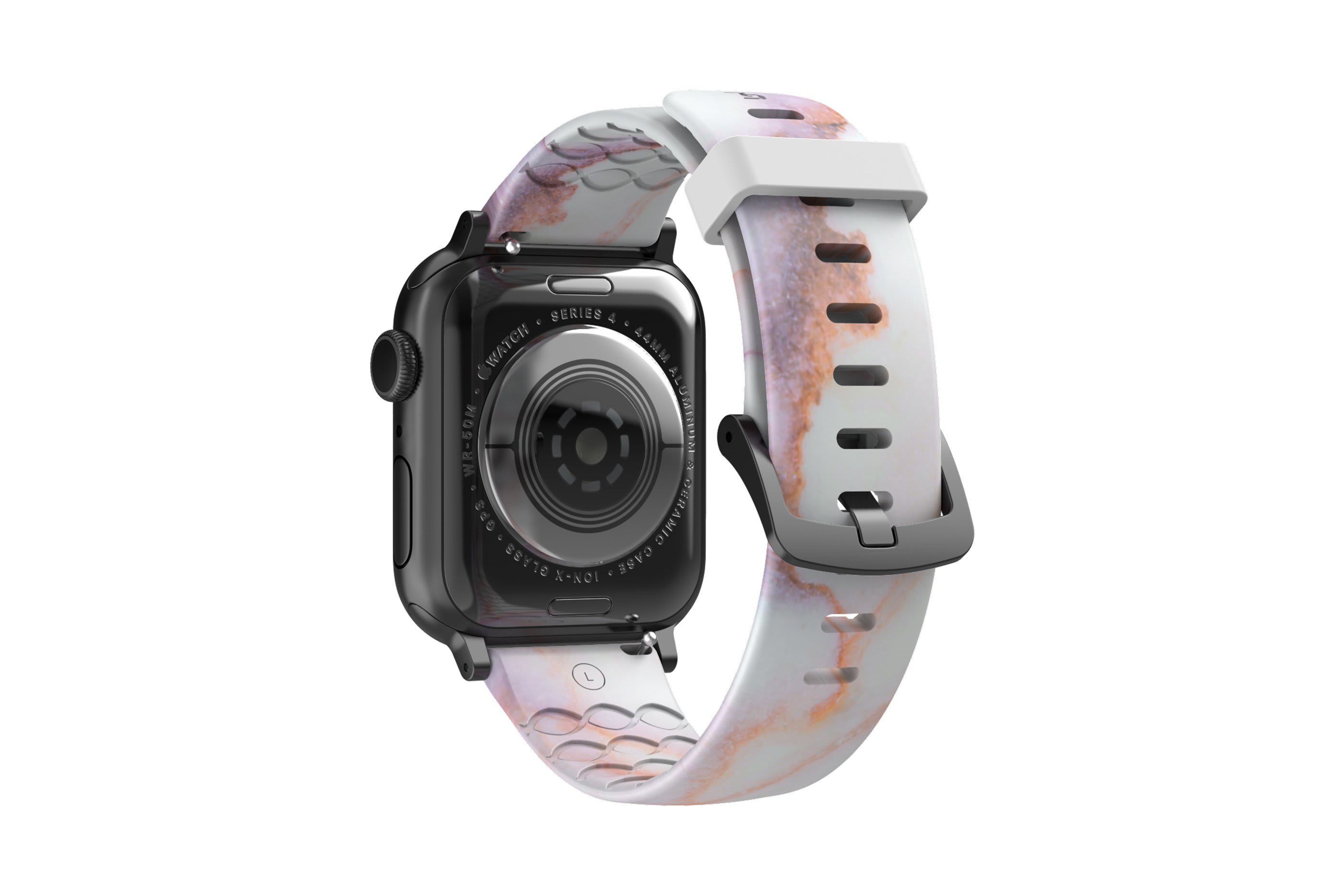 Carerra Marble Apple watch band with gray hardware viewed from rear