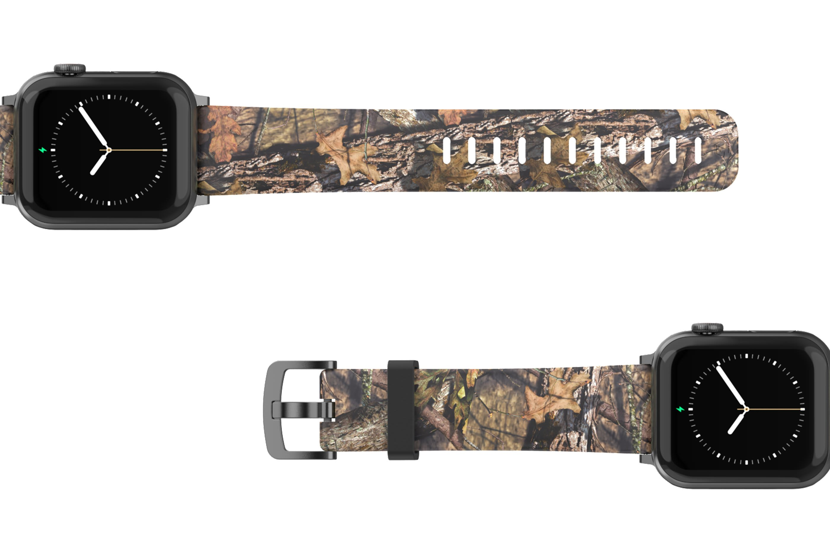 Mossy Oak Breakup Apple Watch Band with gray hardware viewed top down