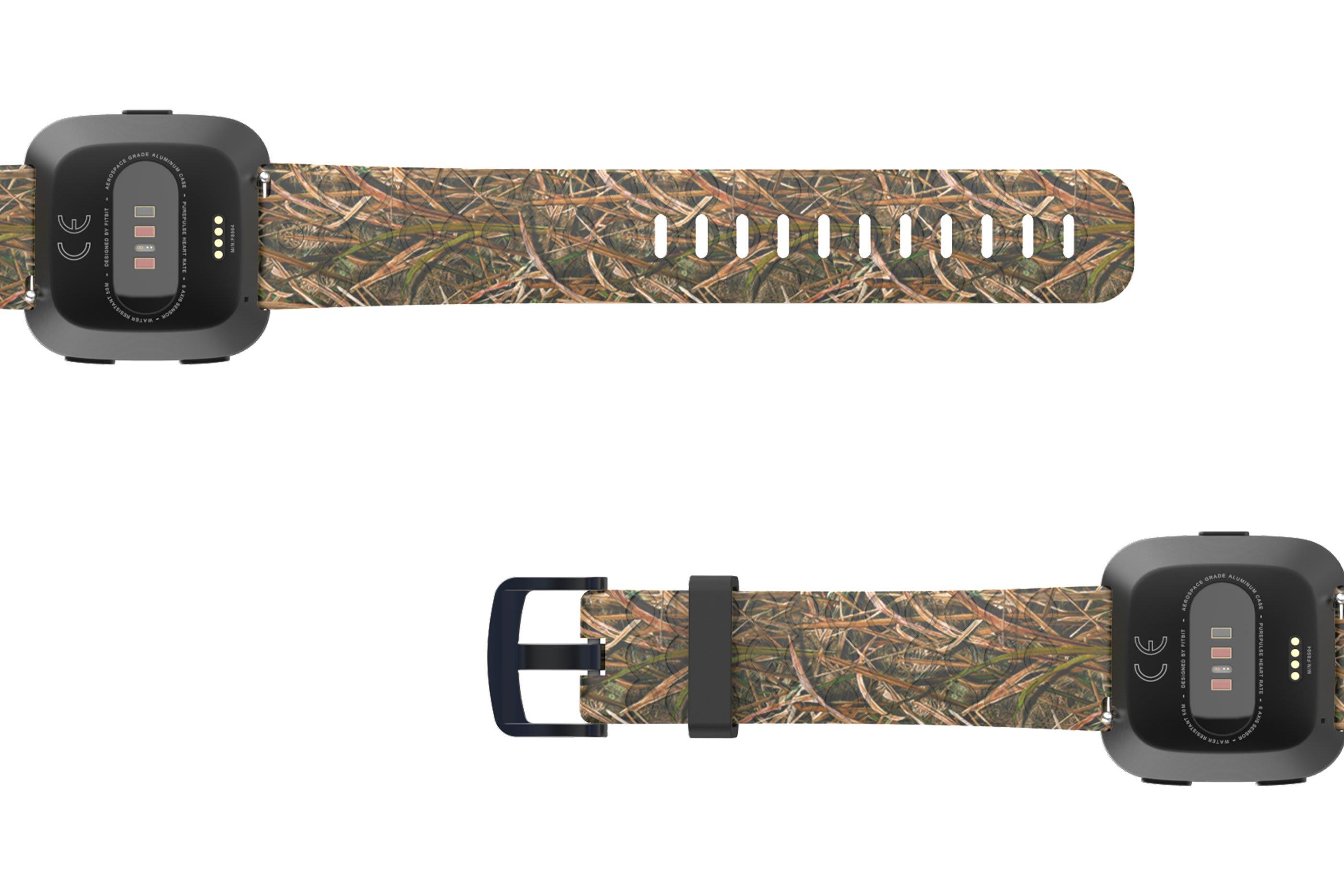 Mossy Oak Blades Fitbit Versa   watch band viewed bottom up