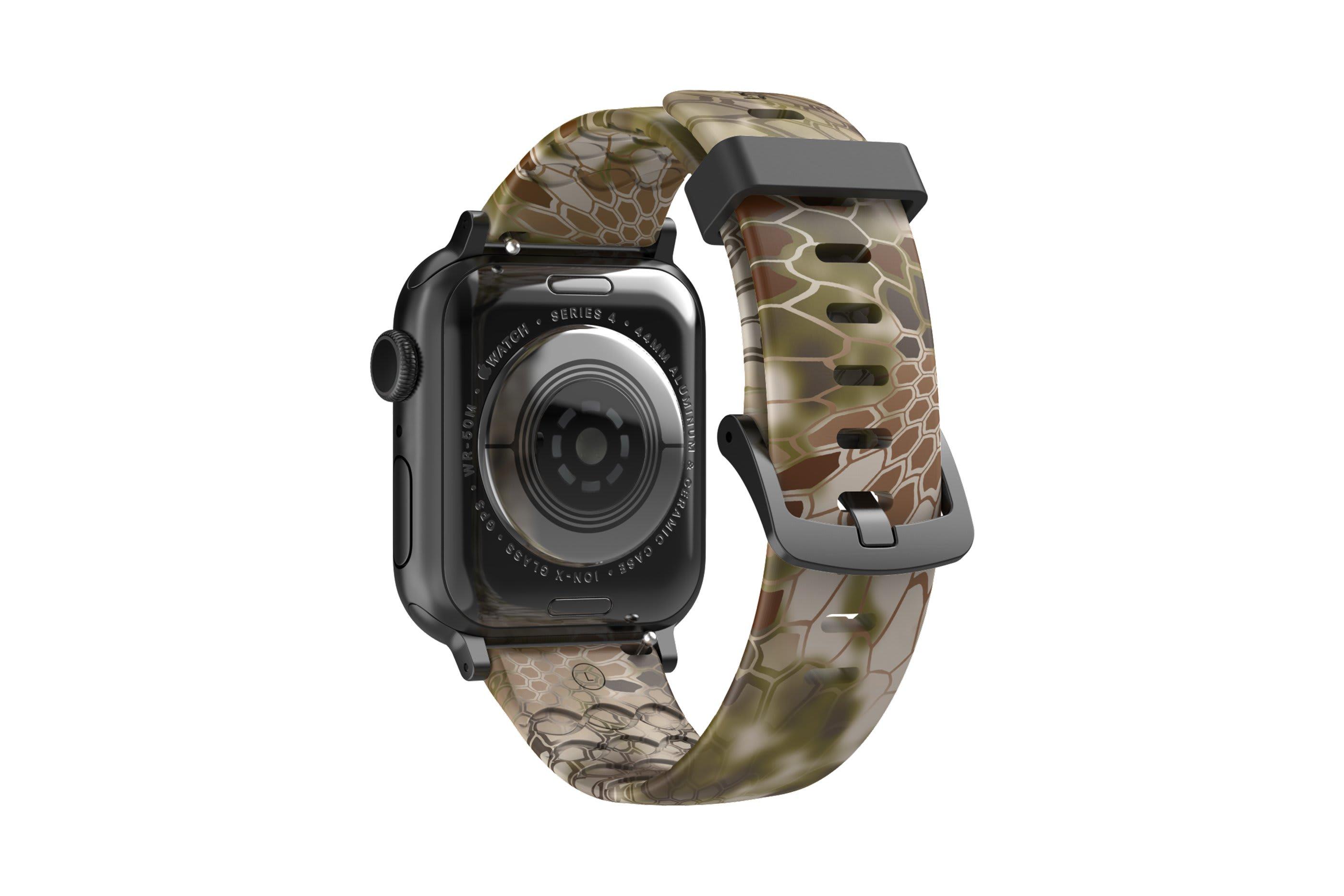 Kryptek Highlander Apple Watch Band with gray hardware viewed from rear