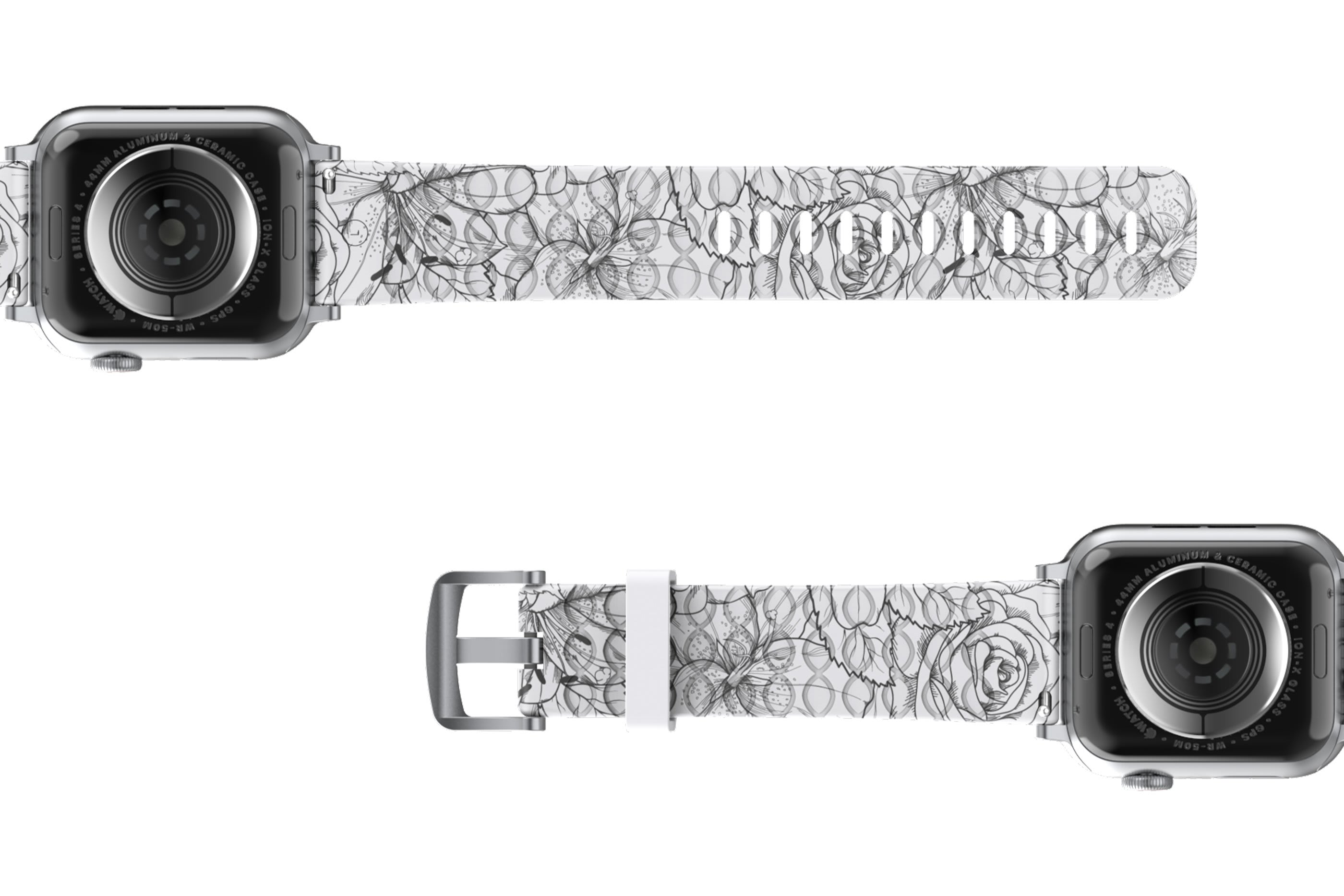 Winter Rose Apple Watch Band with Silver hardware viewed bottom up