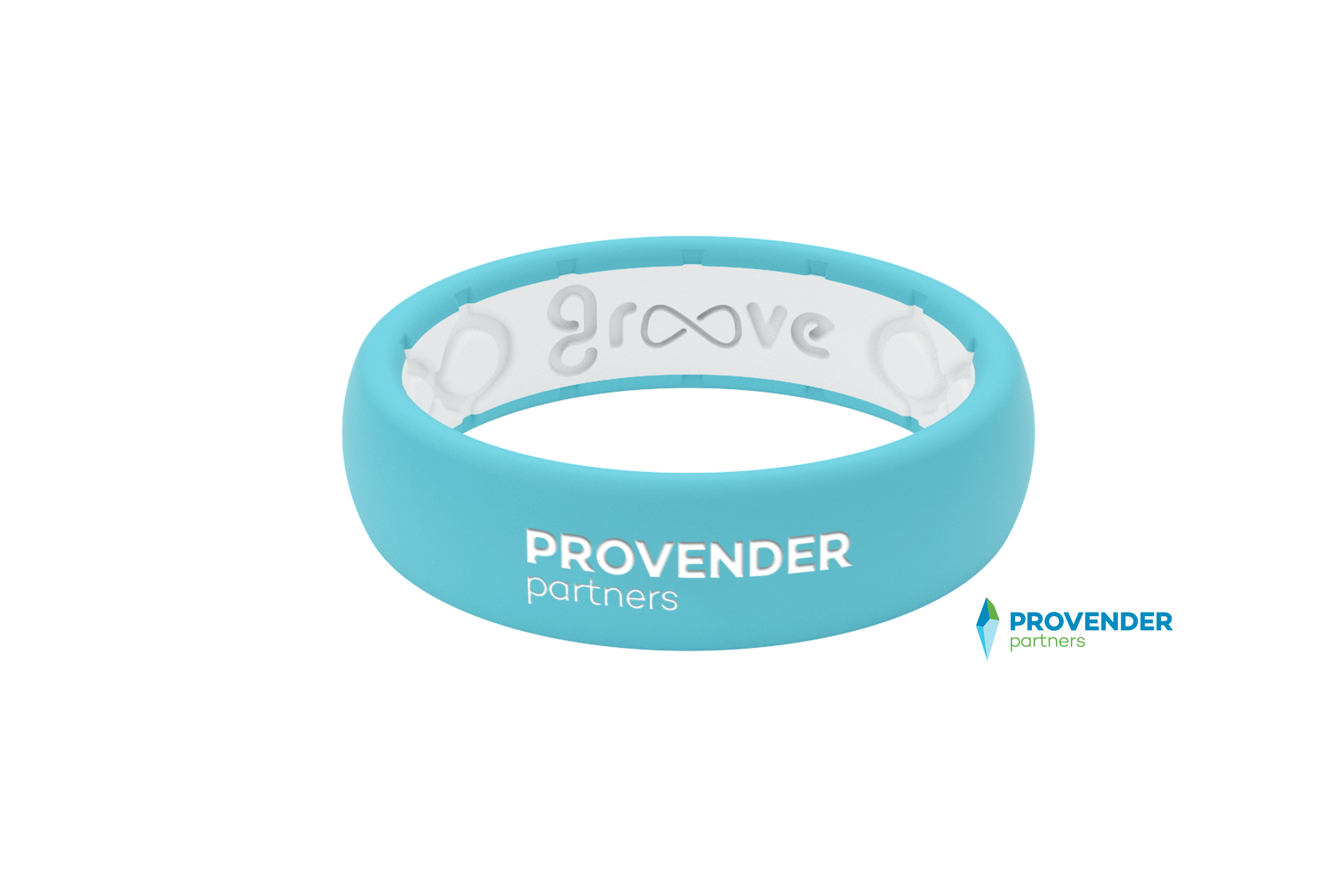 Provender Partners Turquoise White Logo  viewed front on
