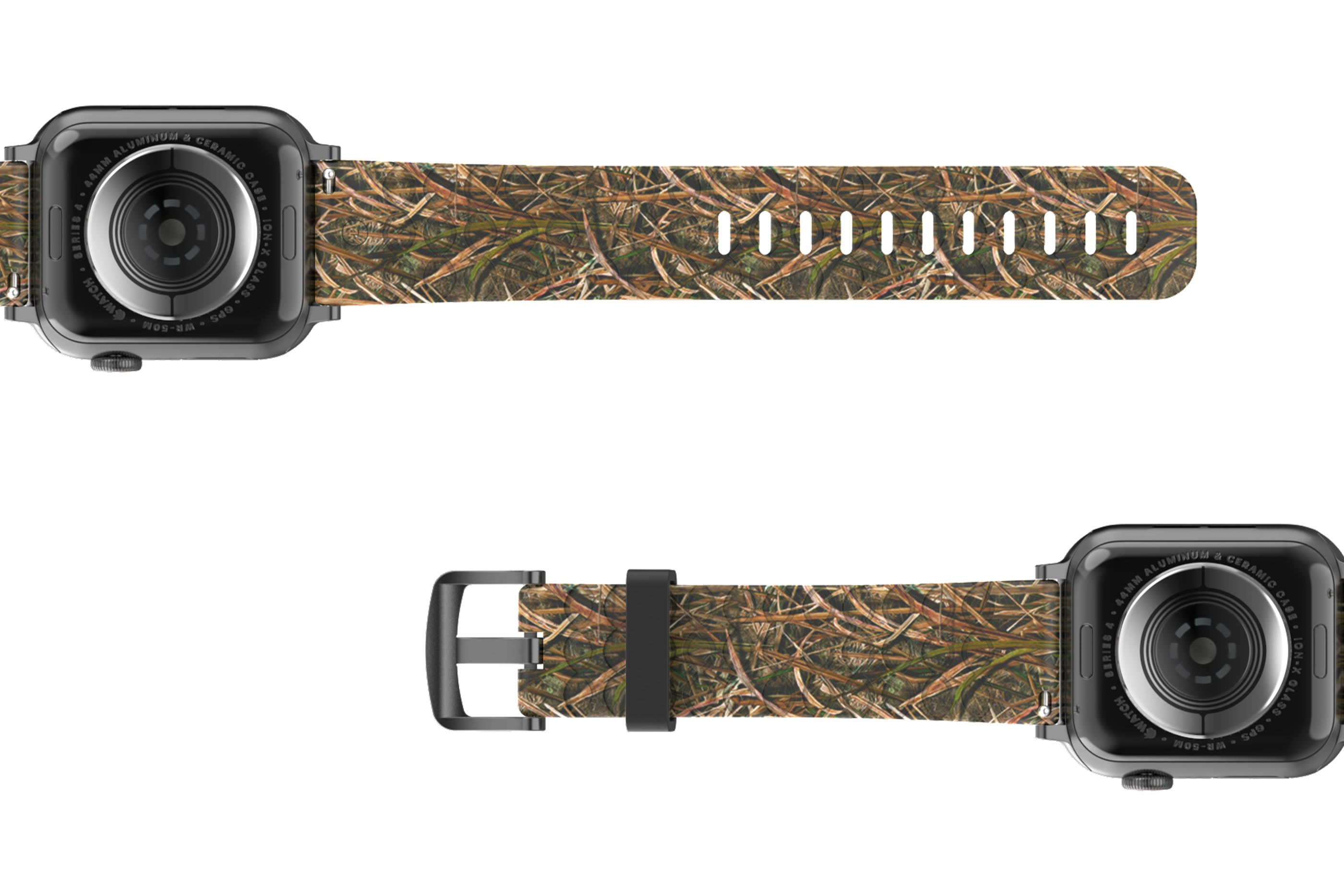 Mossy Oak Blades Apple Watch Band with gray hardware viewed bottom up
