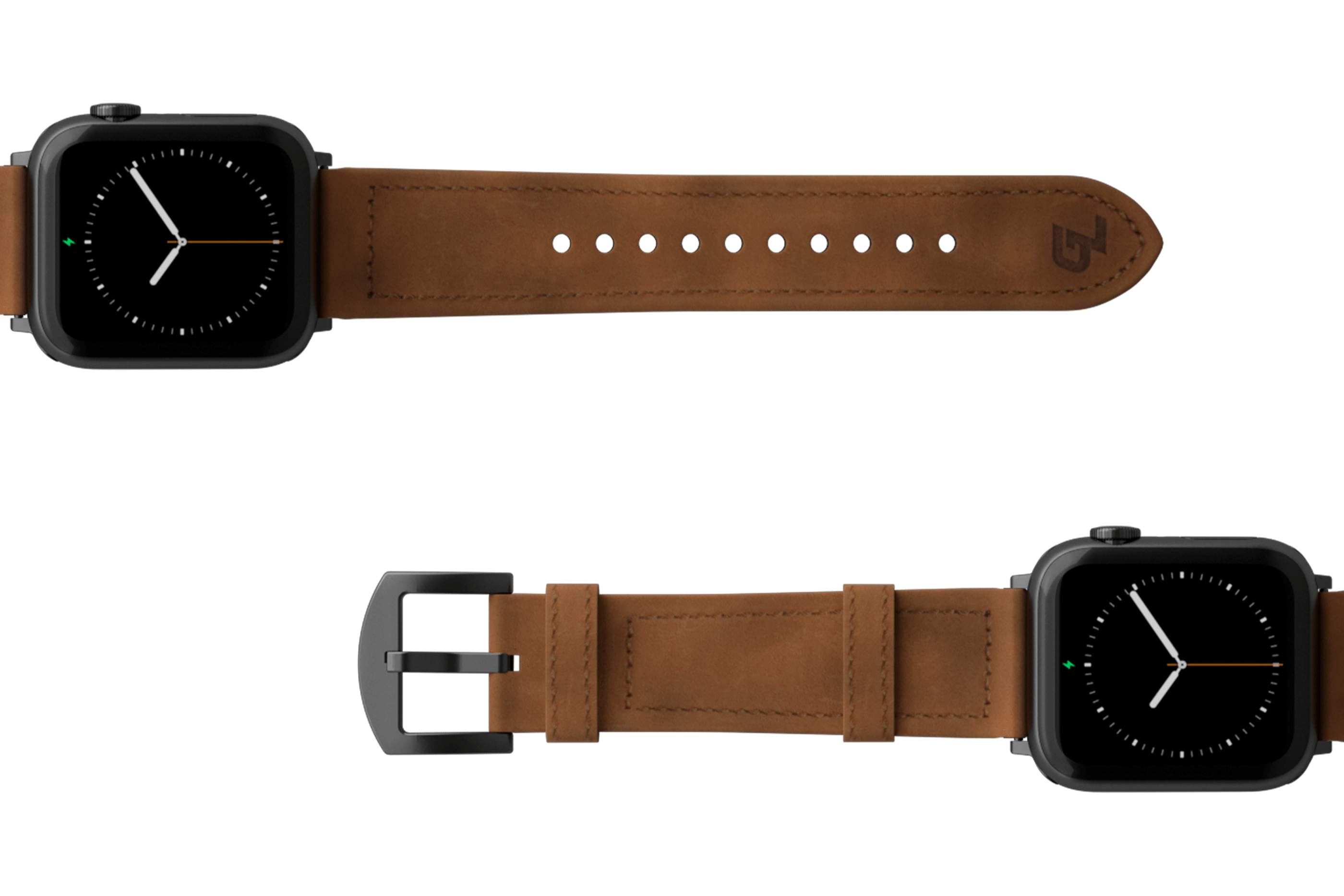Vulcan Trek Leather Apple watch band  with gray hardware viewed top down