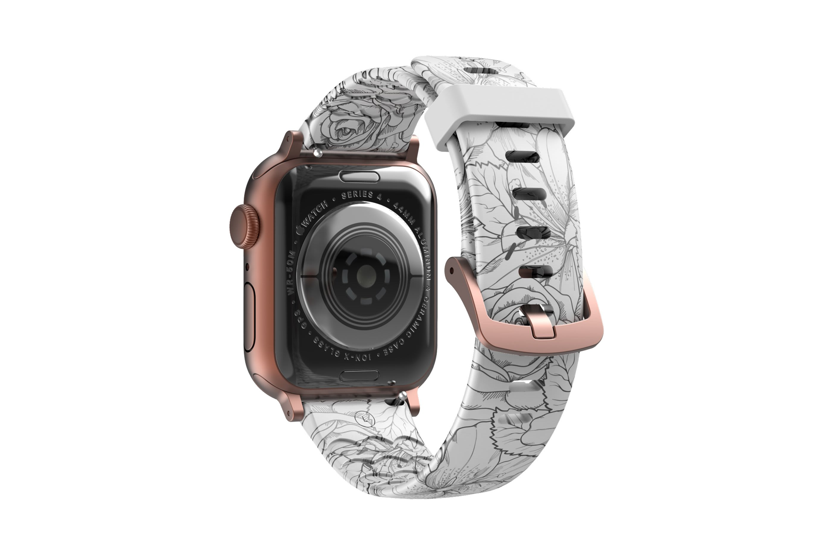 Winter Rose Apple Watch Band with rose gold hardware viewed from rear