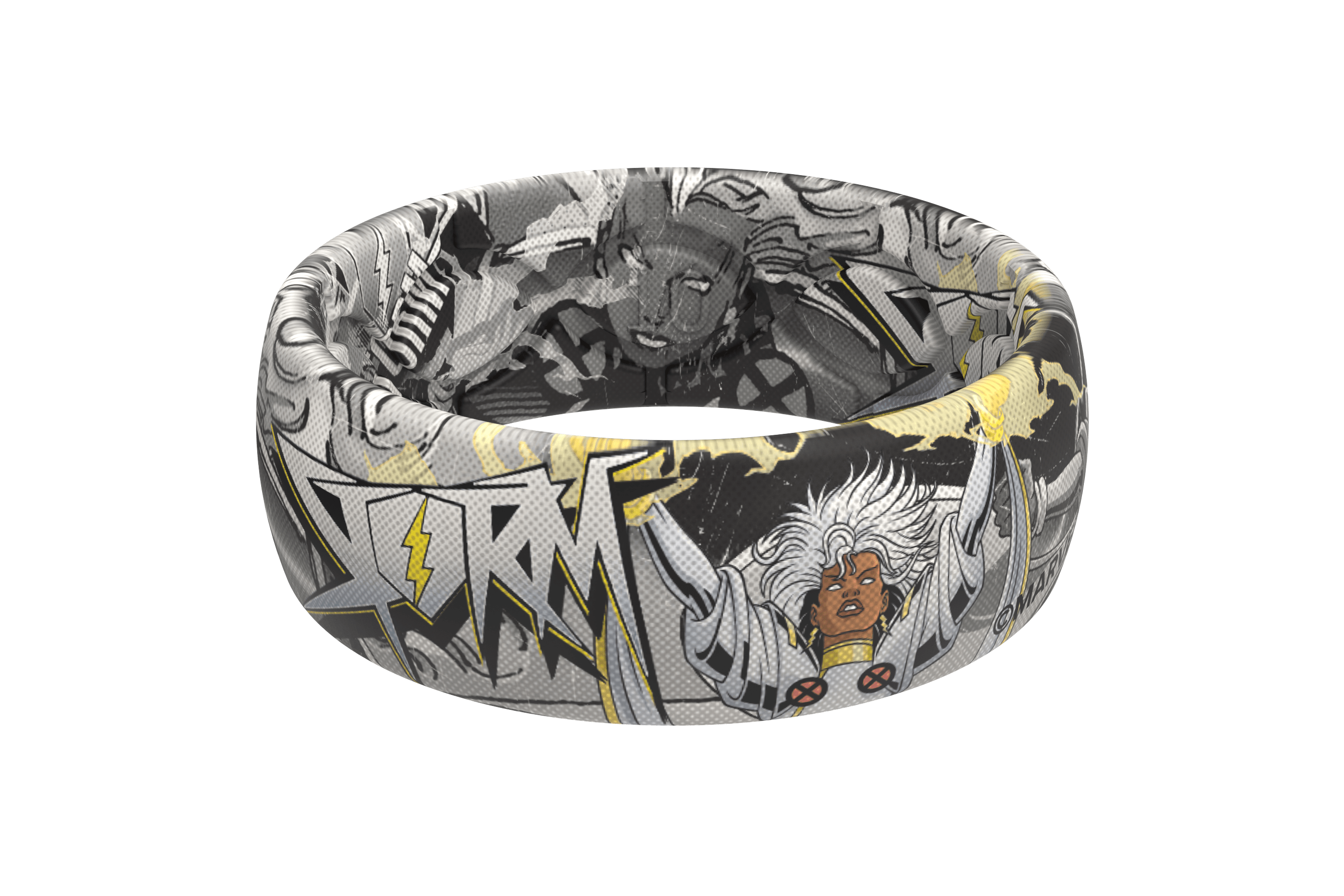 Storm Black and White Comic Ring viewed front on