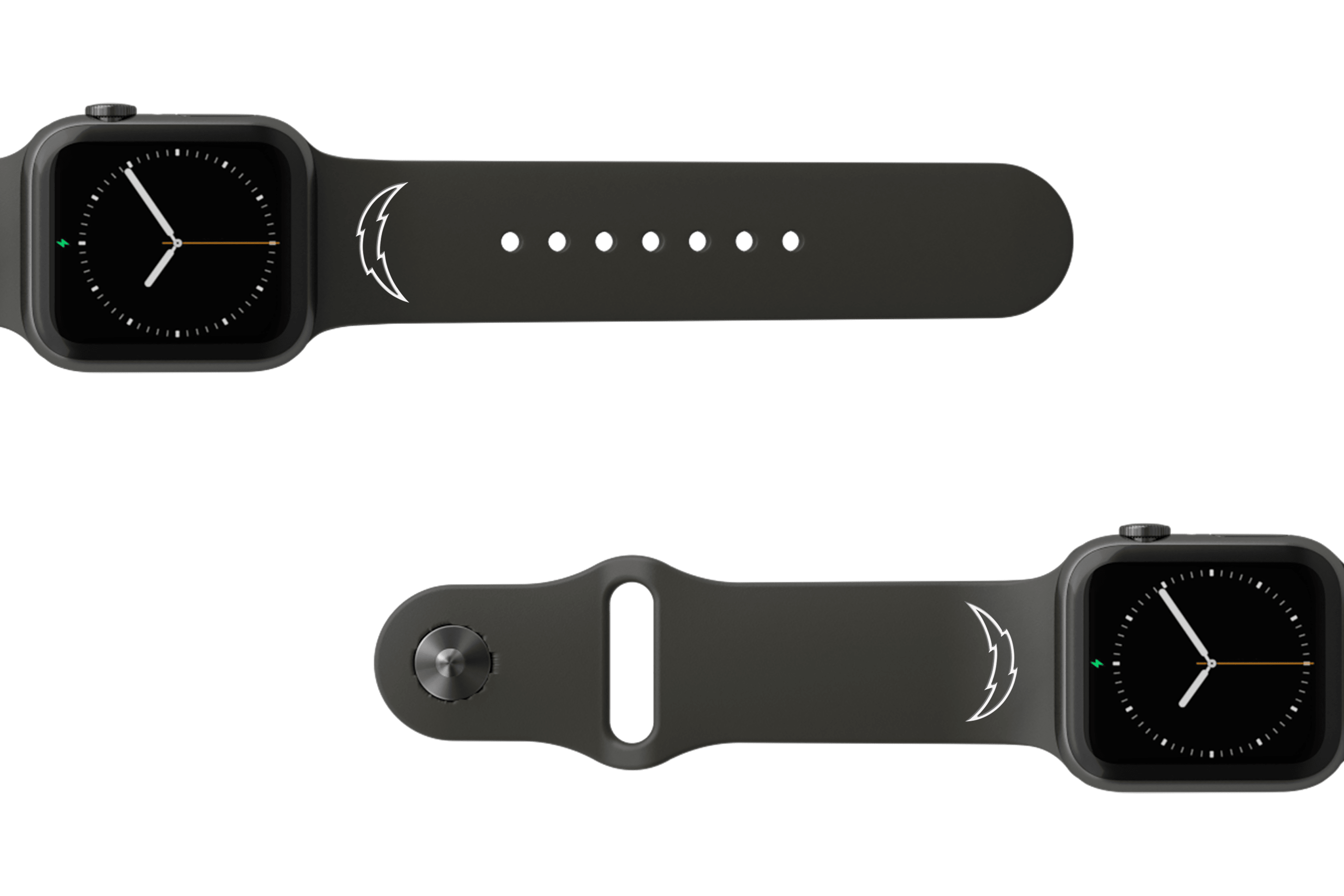 NFL Los Angeles Chargers Black   apple watch band with gray hardware viewed from top down