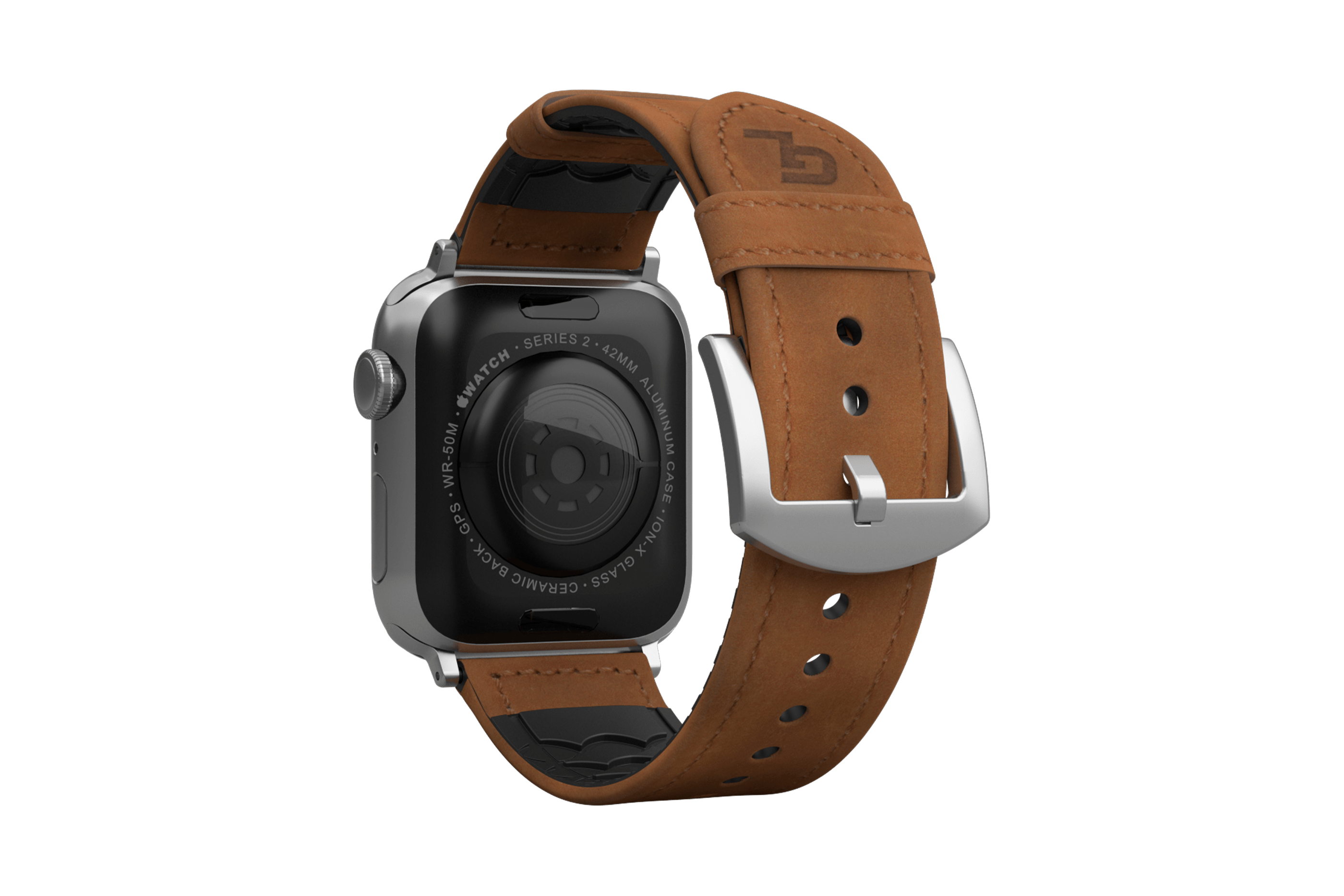 Vulcan Trek Leather   apple watch band with silver hardware viewed from top down