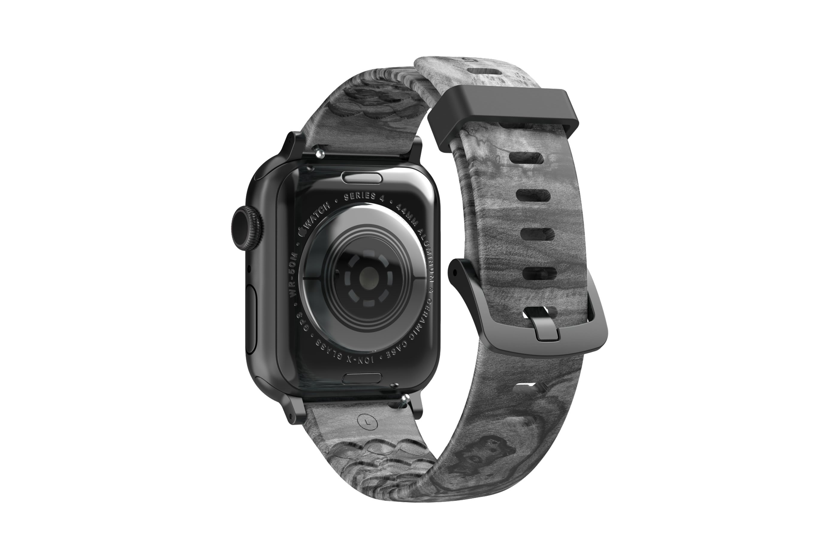 Nomad Relic Apple Watch band with gray hardware viewed from rear