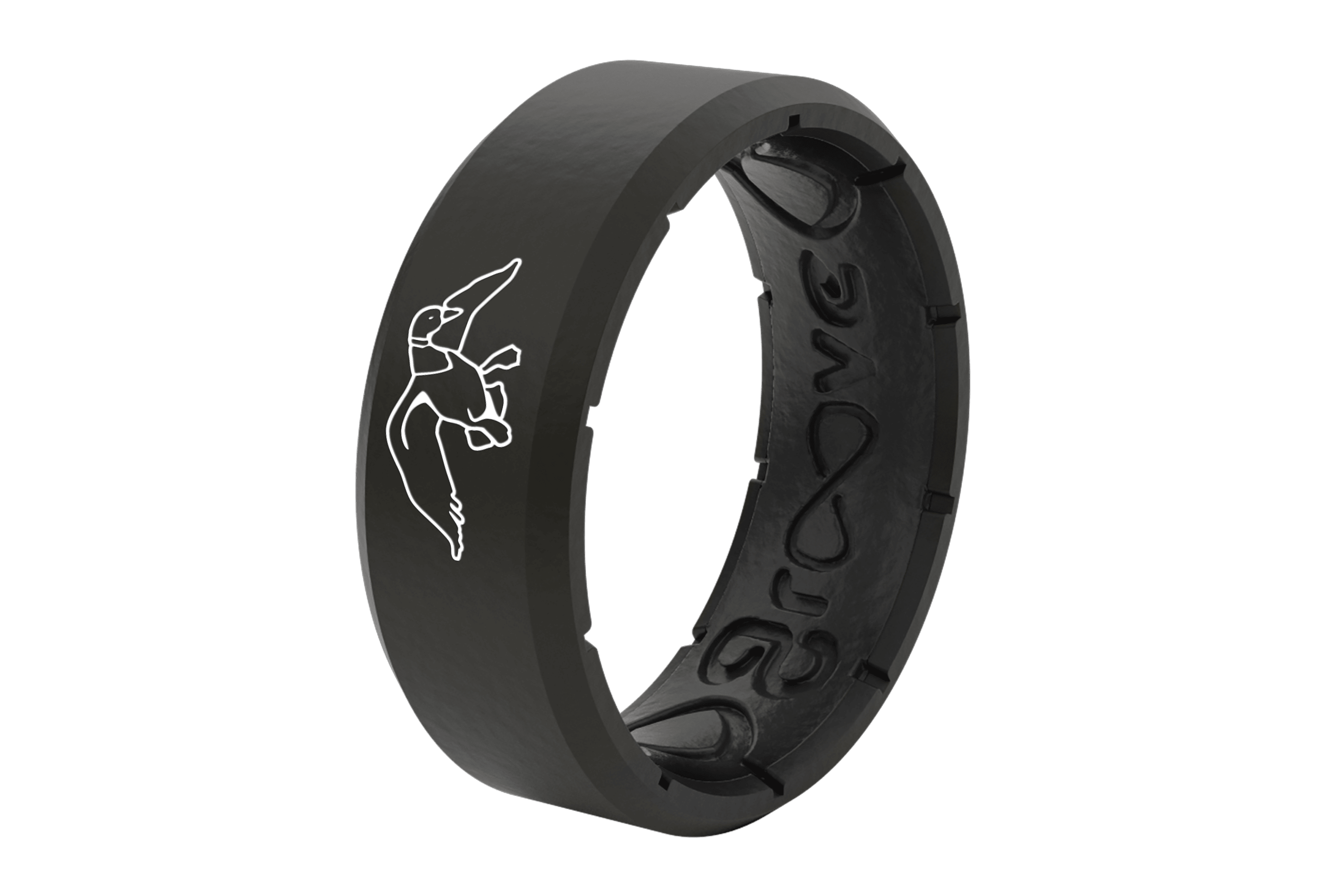 Duck Commander Pitch Black  viewed from side Wedding Rings