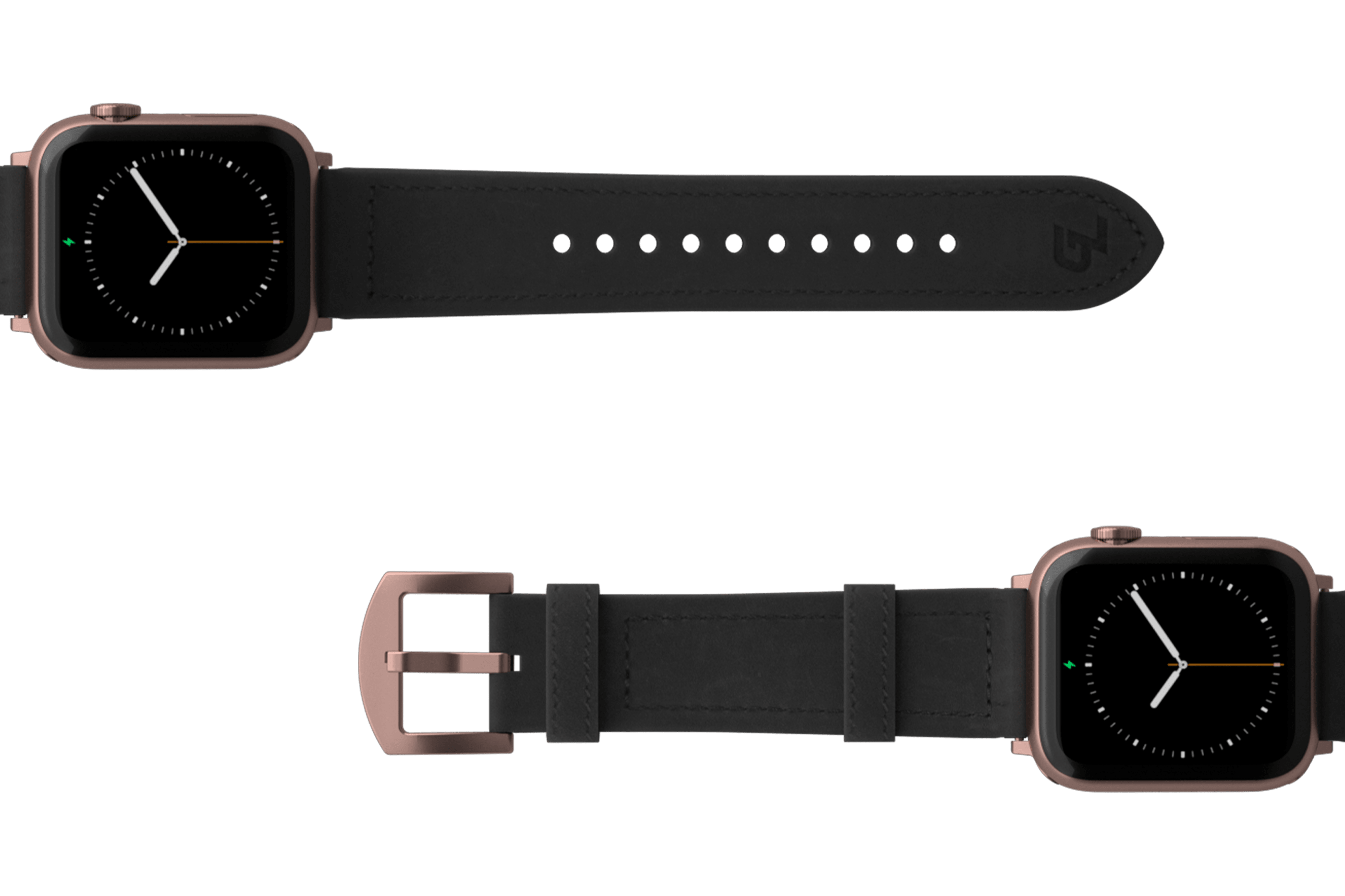 Vulcan Obsidian Black Leather Apple watch band  with rose gold hardware viewed top down