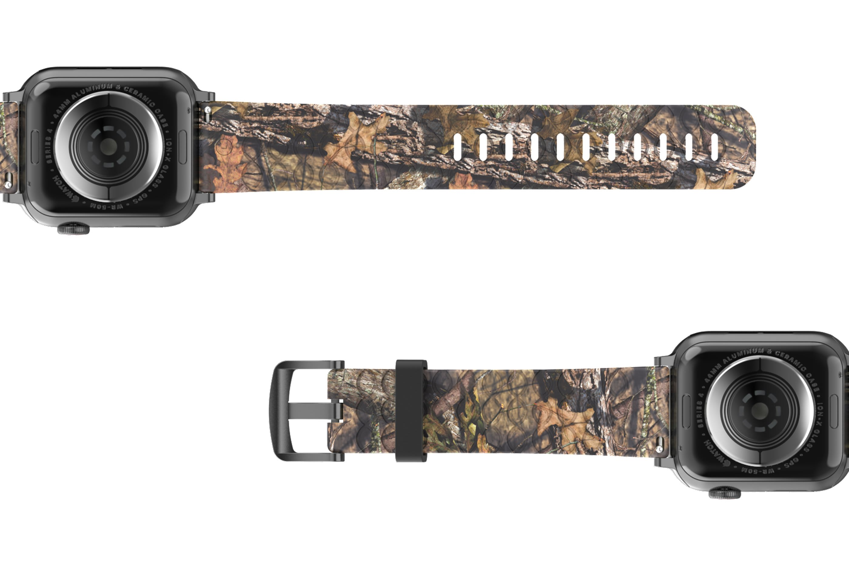 Mossy Oak Breakup Apple Watch Band with gray hardware viewed bottom up