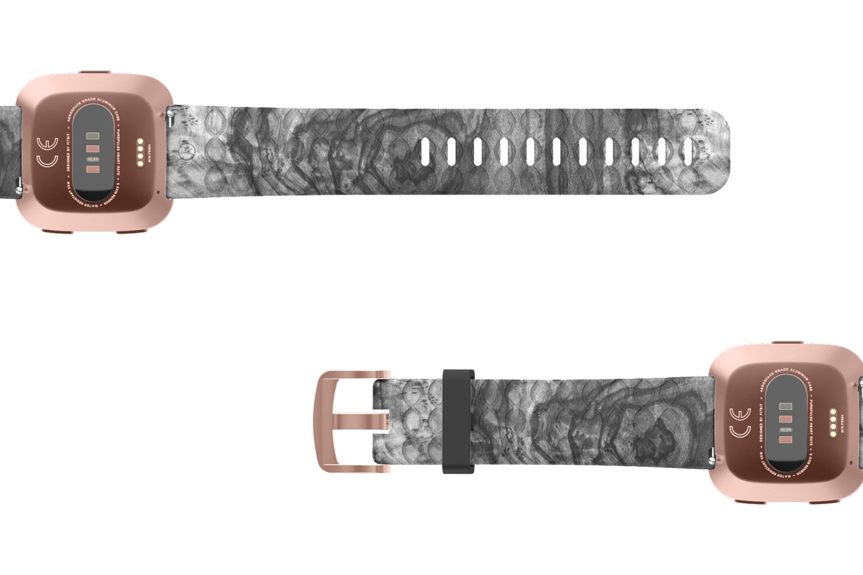 Nomad Relic Fitbit Versa   watch band with rose gold hardware viewed bottom up