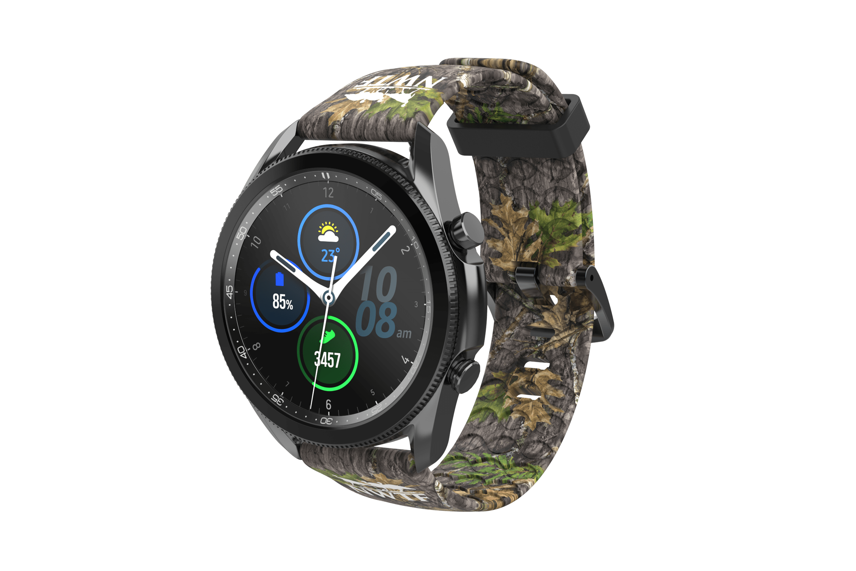 NWTF Mossy Oak Obsession Samsung 22mm Watch Band with gray hardware  viewed front on