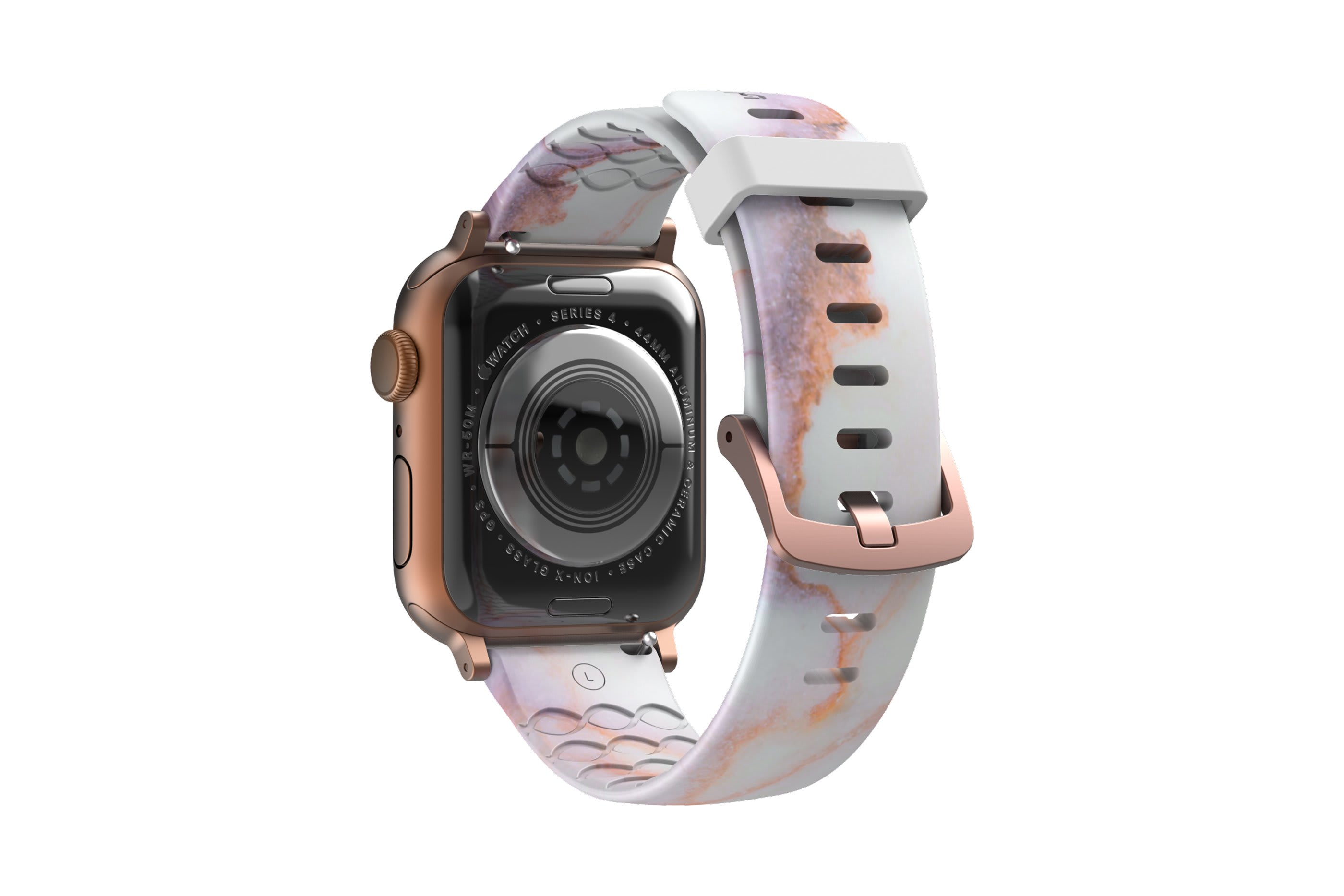 Carerra Marble Apple watch band with rose gold hardware viewed from rear