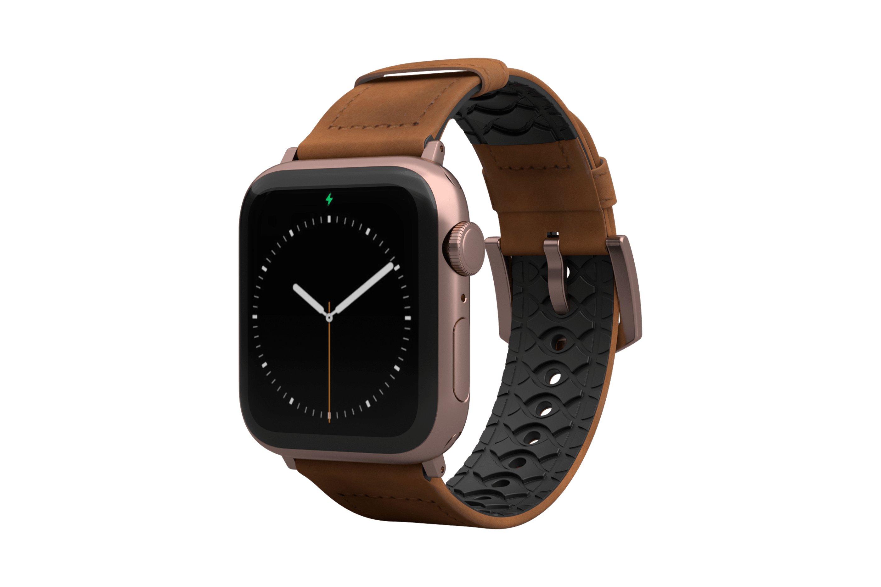 Vulcan Trek Leather Apple Watch Band   with rose gold hardware viewed front on