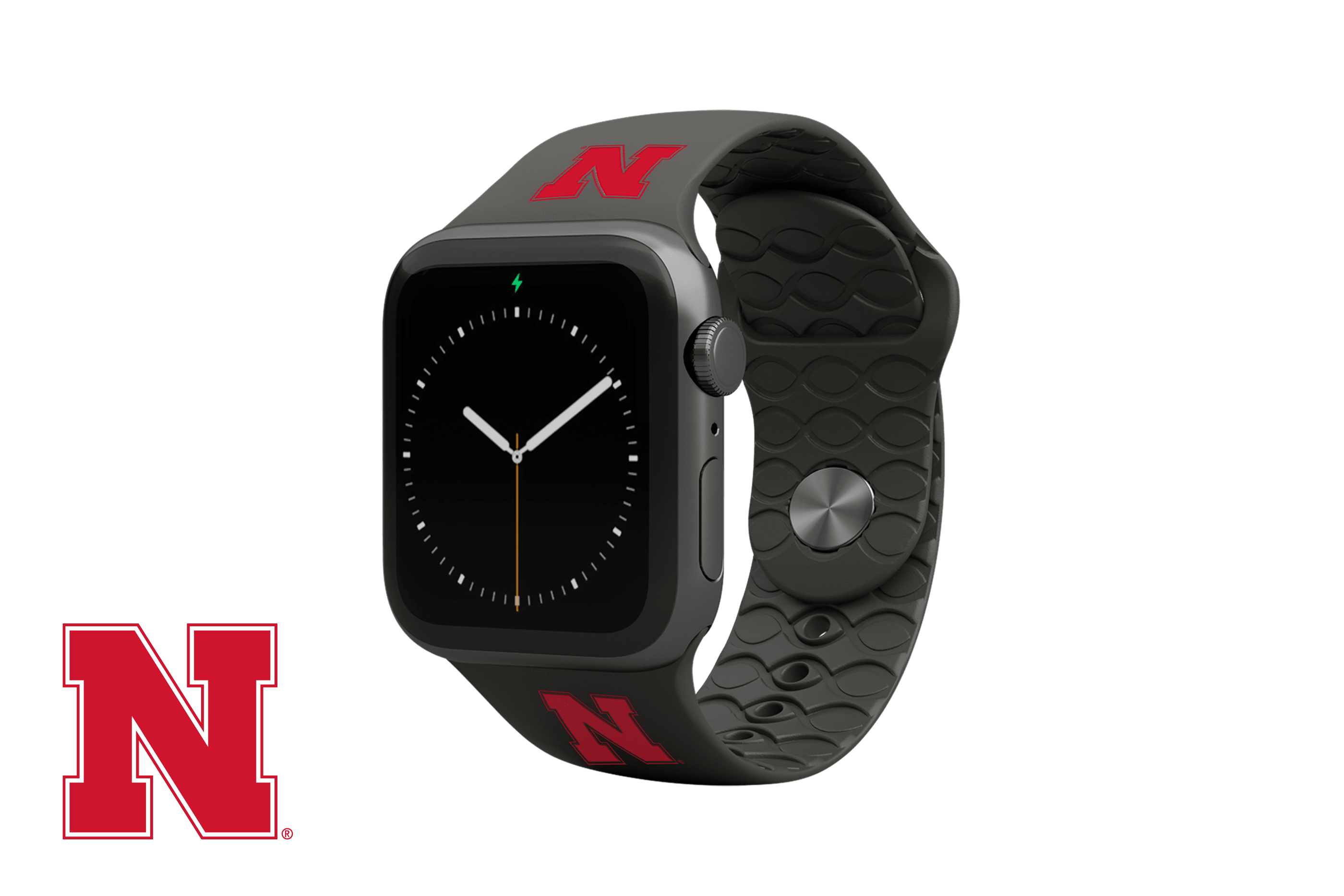 Apple Watch Band College Nebraska Black with gray hardware viewed front on