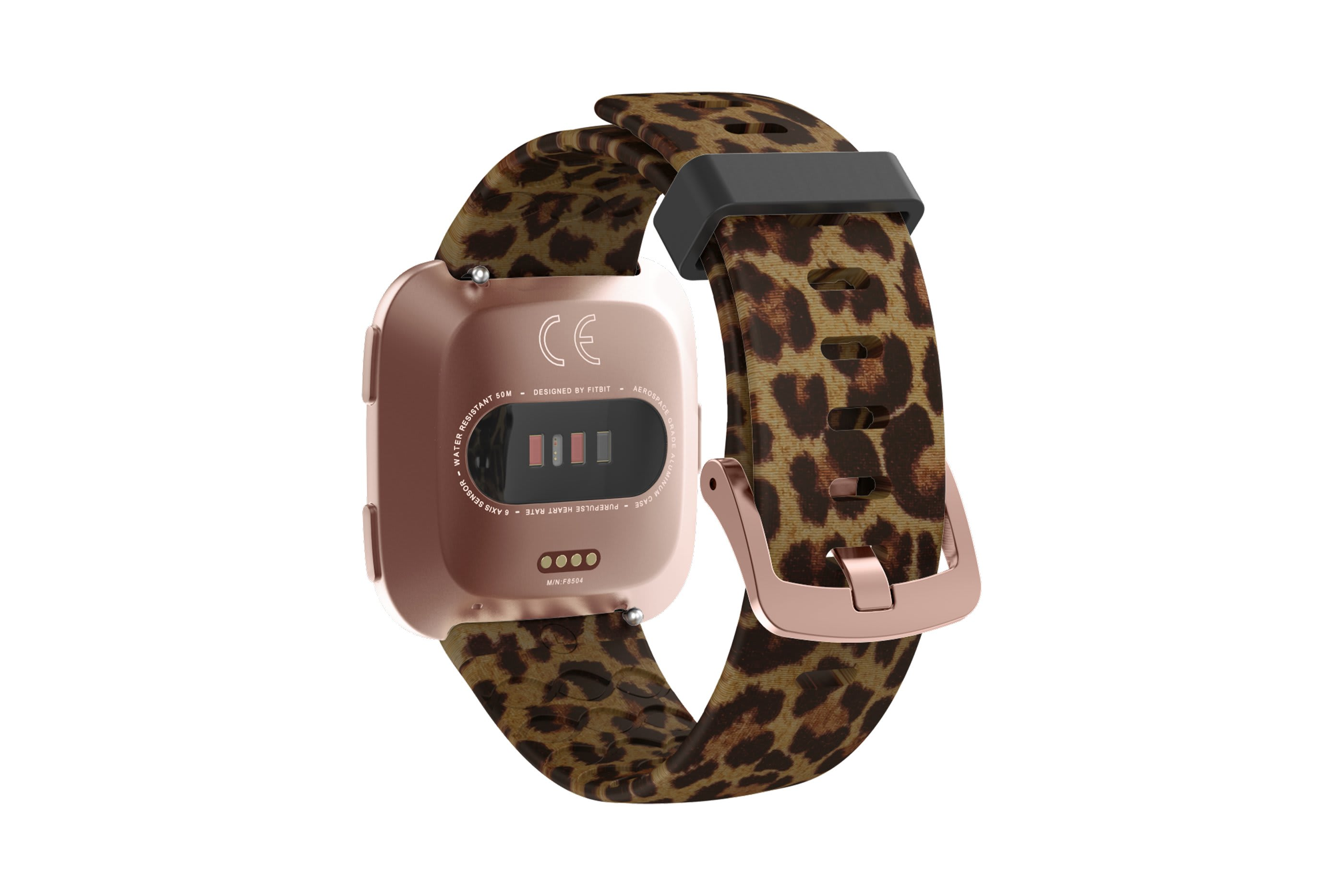 Leopard fitbit versa watch band with rose gold hardware viewed from top down