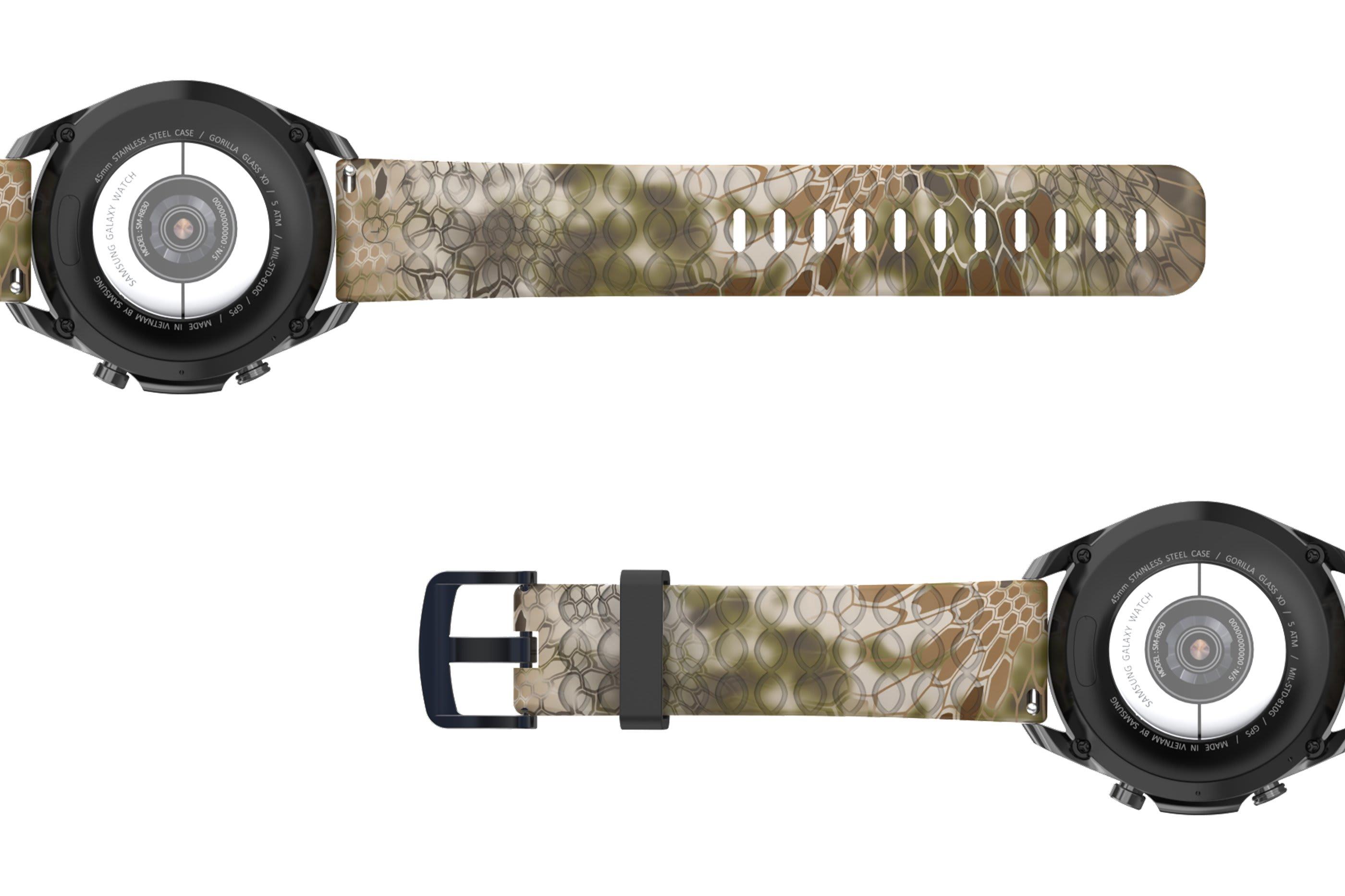 Kryptek Highlander Samsung 22mm   watch band viewed bottom up