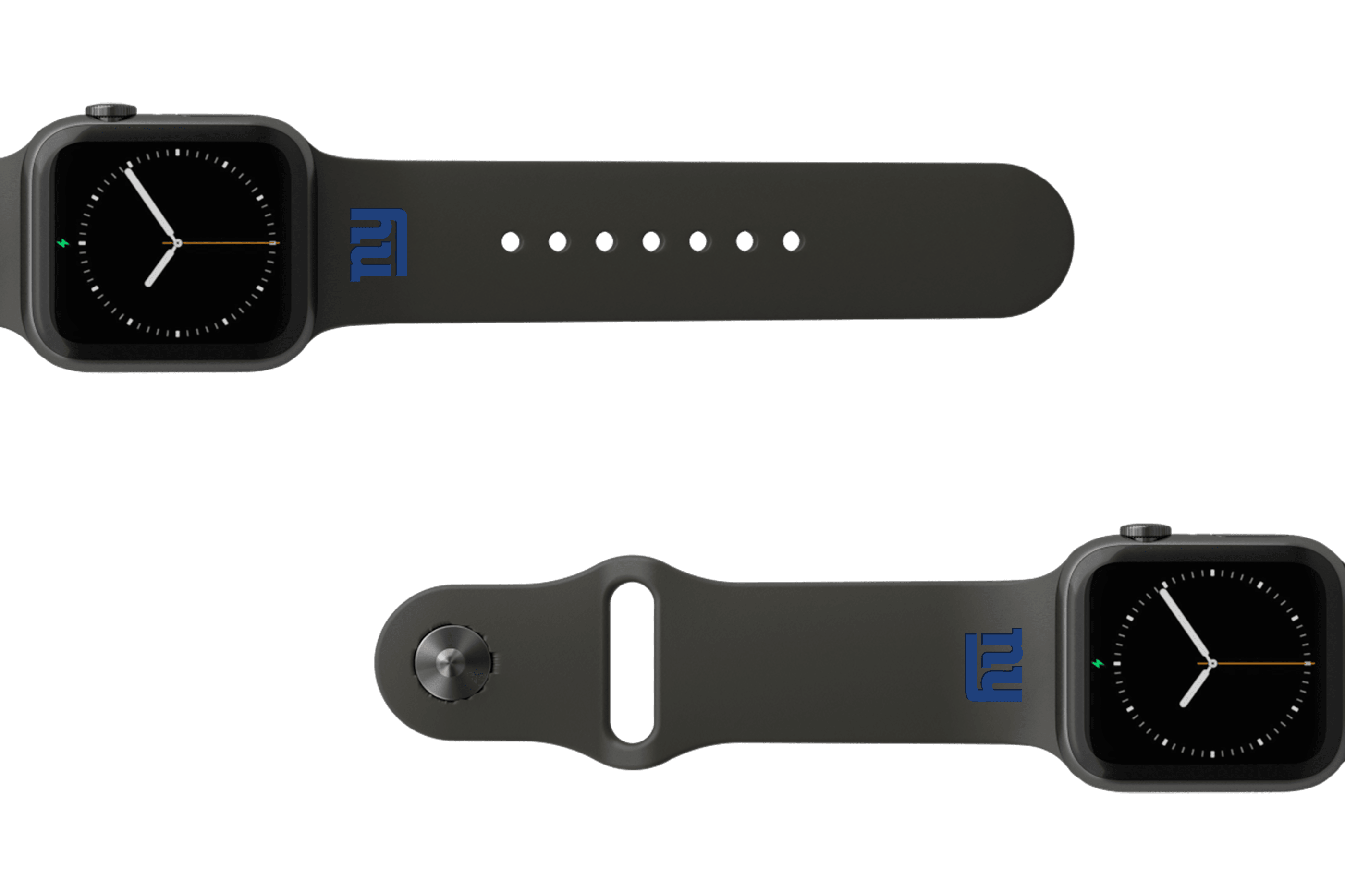 NFL New York Giants Black   apple watch band with gray hardware viewed from top down