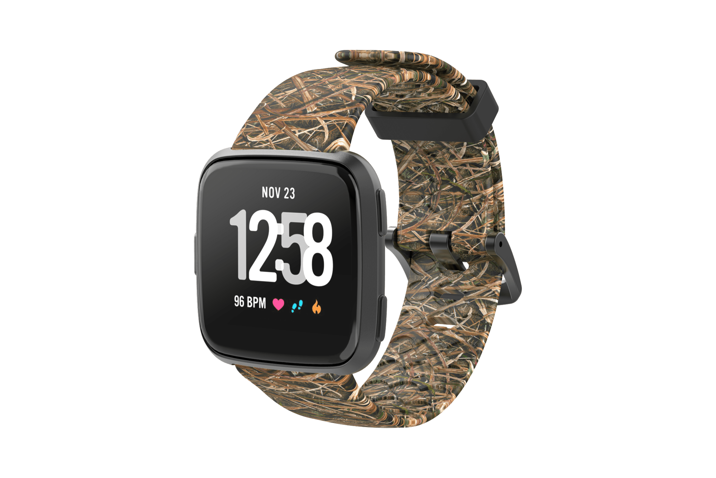 Mossy Oak Blades Fitbit Versa Watch Band vwith gray hardware iewed front on