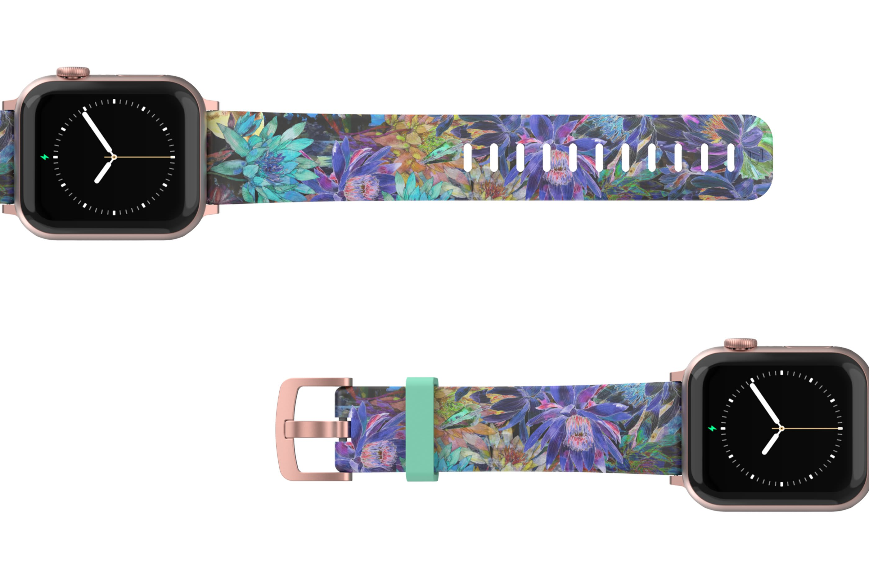 Twilight Blossom Apple Watch Band with rose gold hardware viewed top down