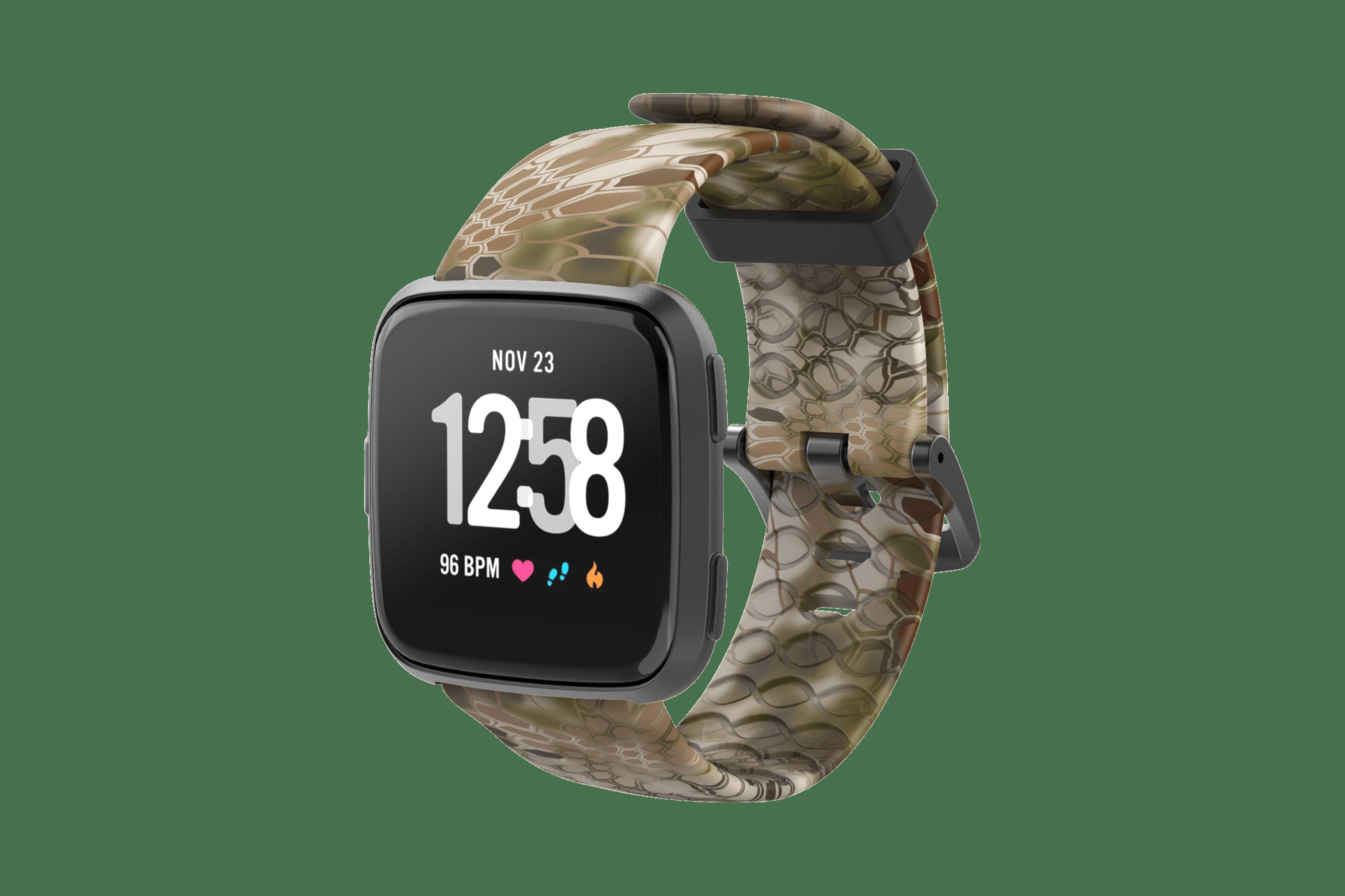 Kryptek Highlander Fitbit Versa Watch Band with gray hardware viewed front on