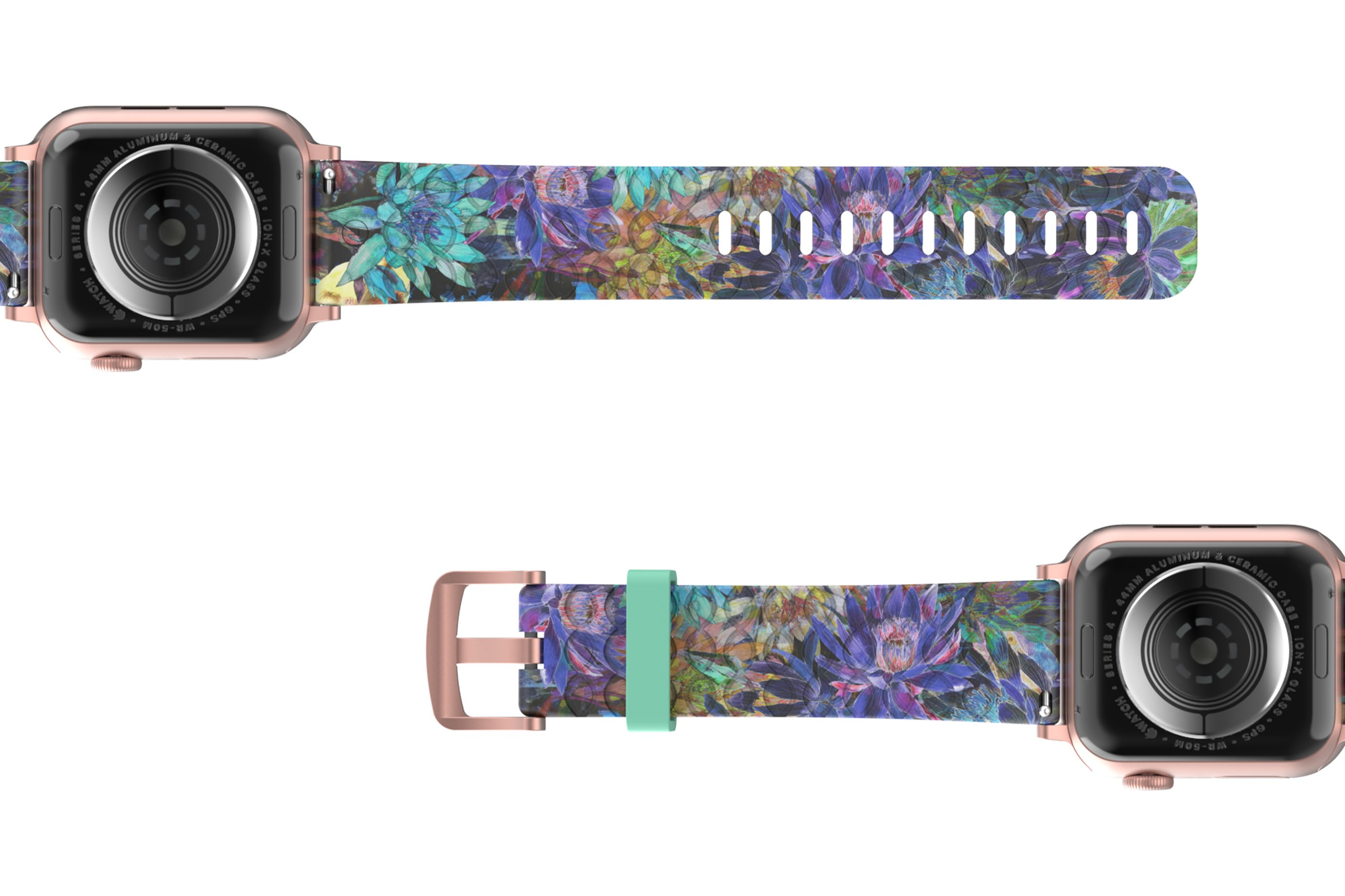 Twilight Blossom Apple Watch Band with rose gold hardware viewed bottom up