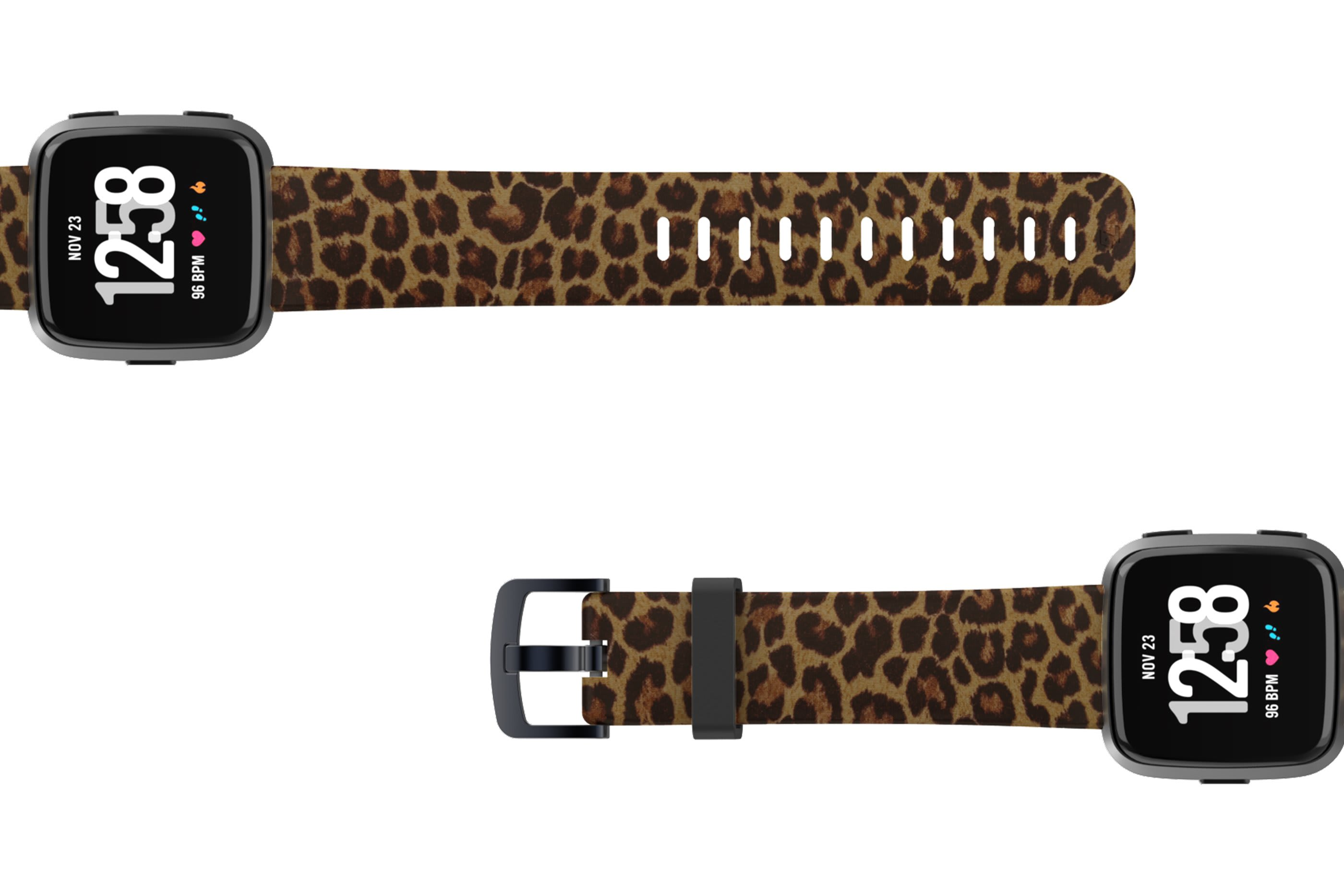 Leopard Fitbit Versa watch band with gray hardware viewed top down