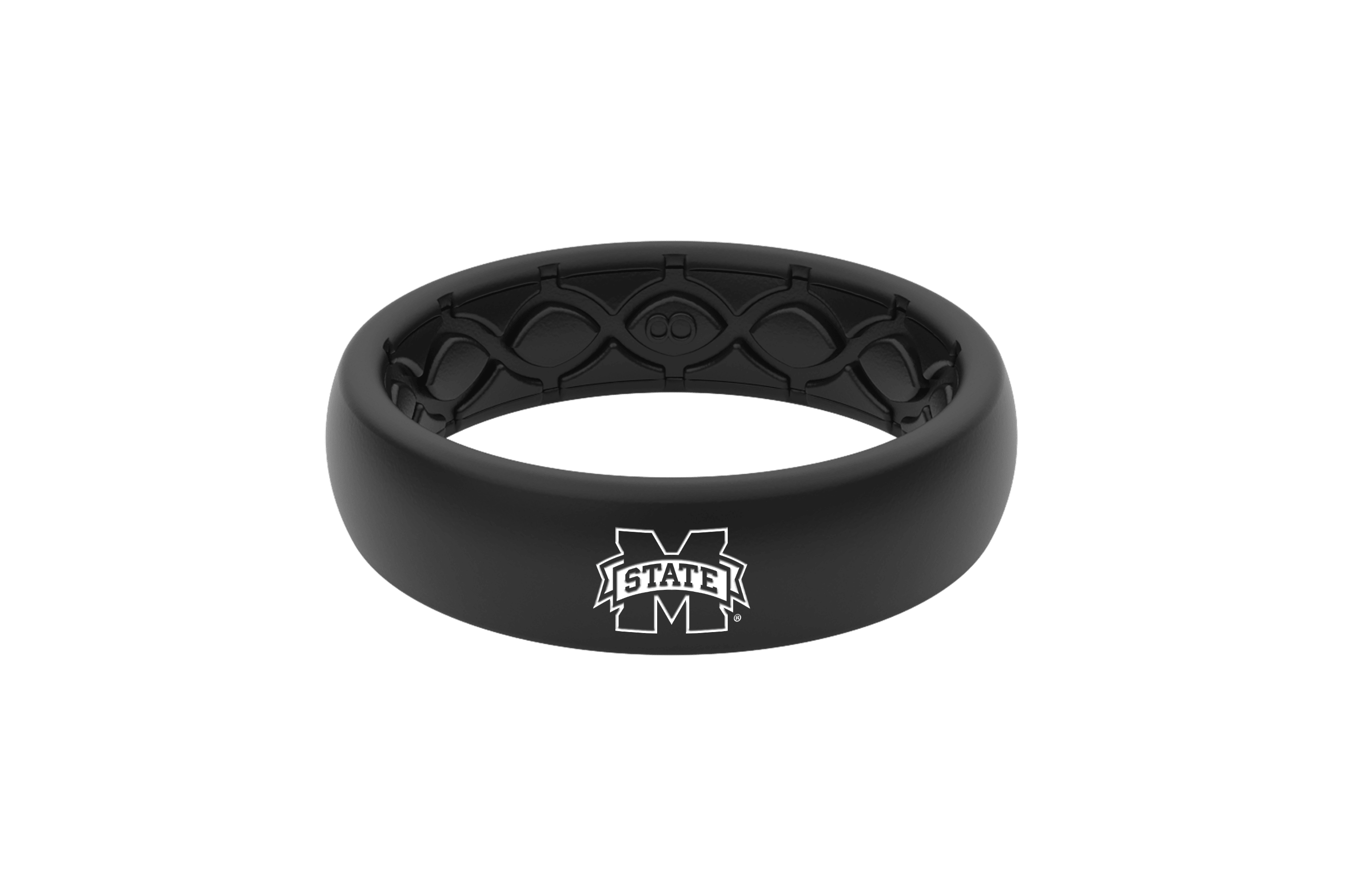 Thin College Mississippi State Black - Groove Life Silicone Wedding Rings