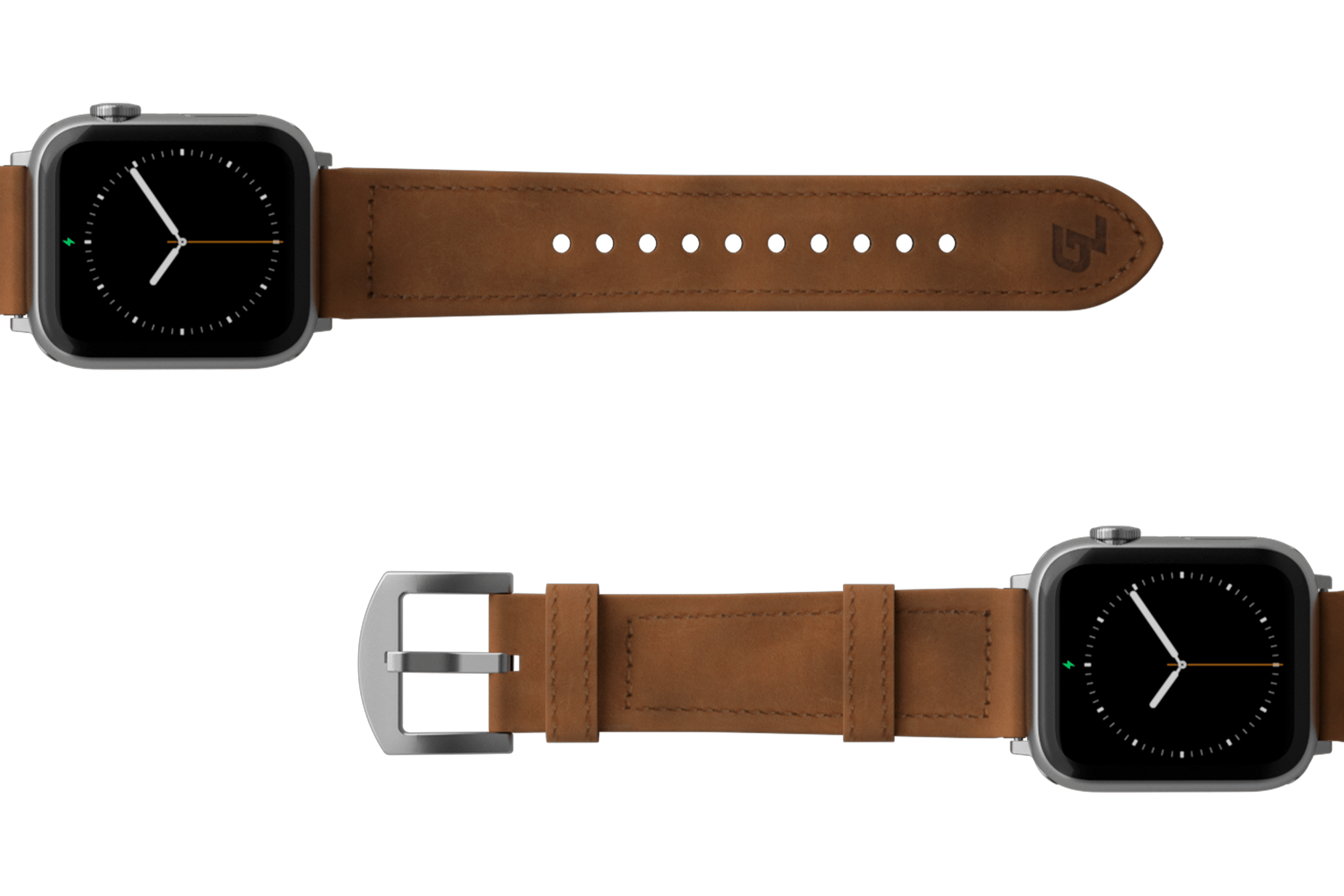 Vulcan Trek Leather Apple watch band  with silver hardware viewed top down