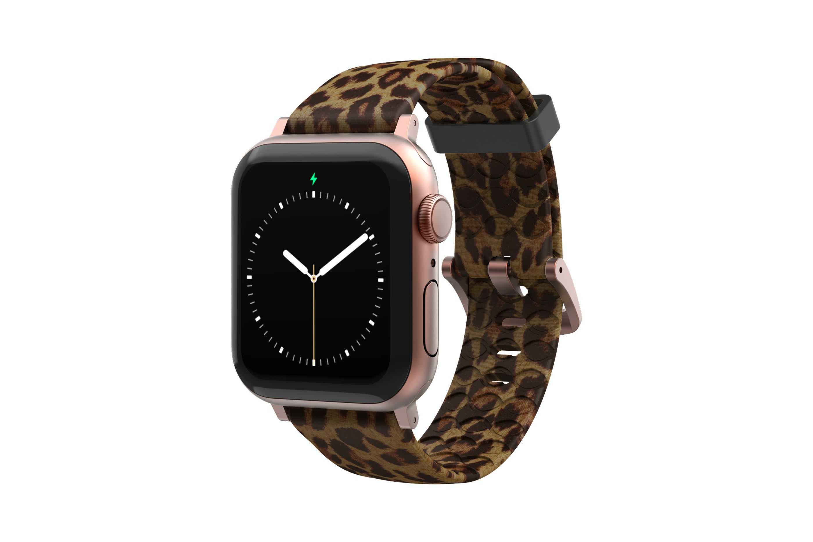 Leopard Apple Watch Band with rose gold Hardware viewed front on