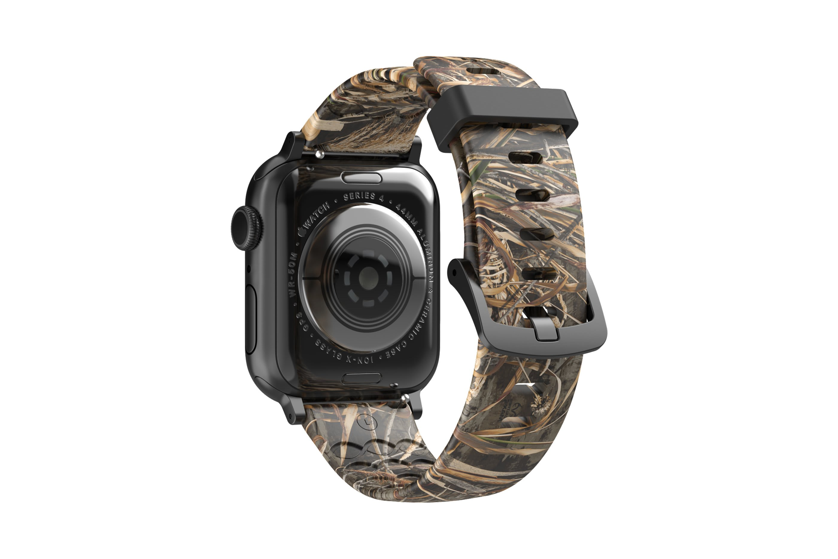 Realtree Max 5 Apple Watch Band with gray hardware viewed from top down