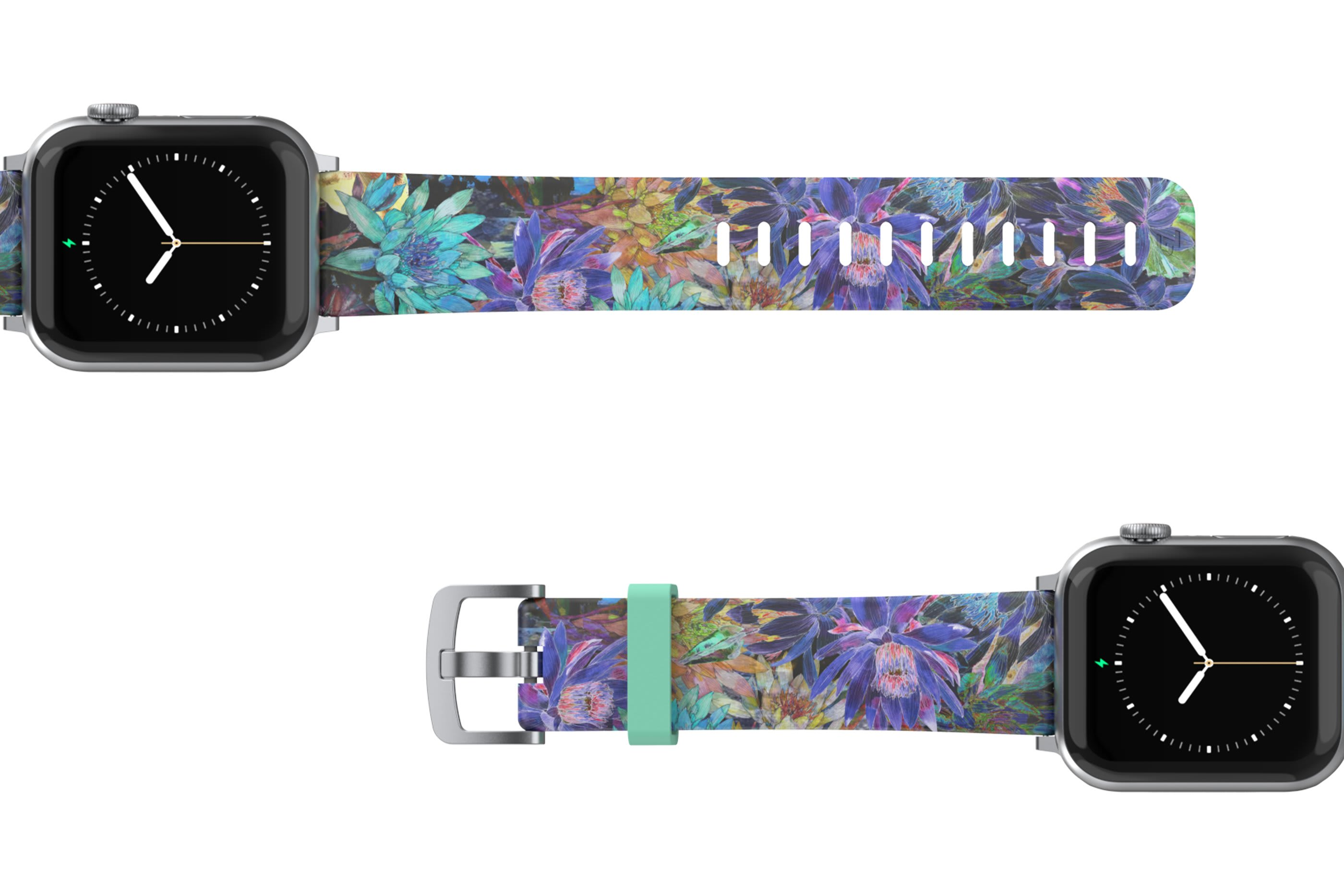 Twilight Blossom Apple Watch Band with silver hardware viewed top down